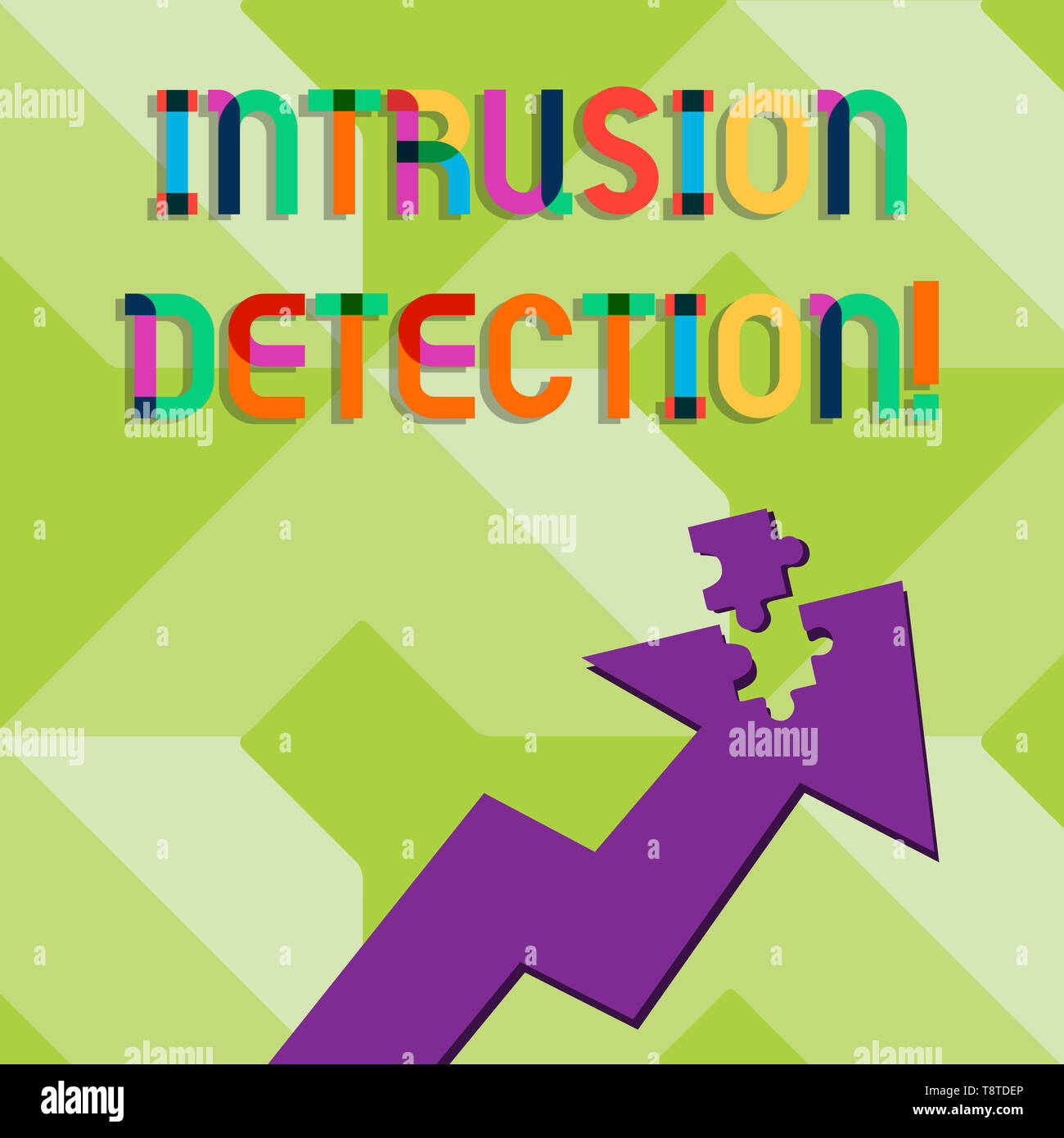 Handwriting text writing Intrusion Detection. Conceptual photo monitors a network or systems for malicious activity Colorful Arrow Pointing Upward wit - Stock Image