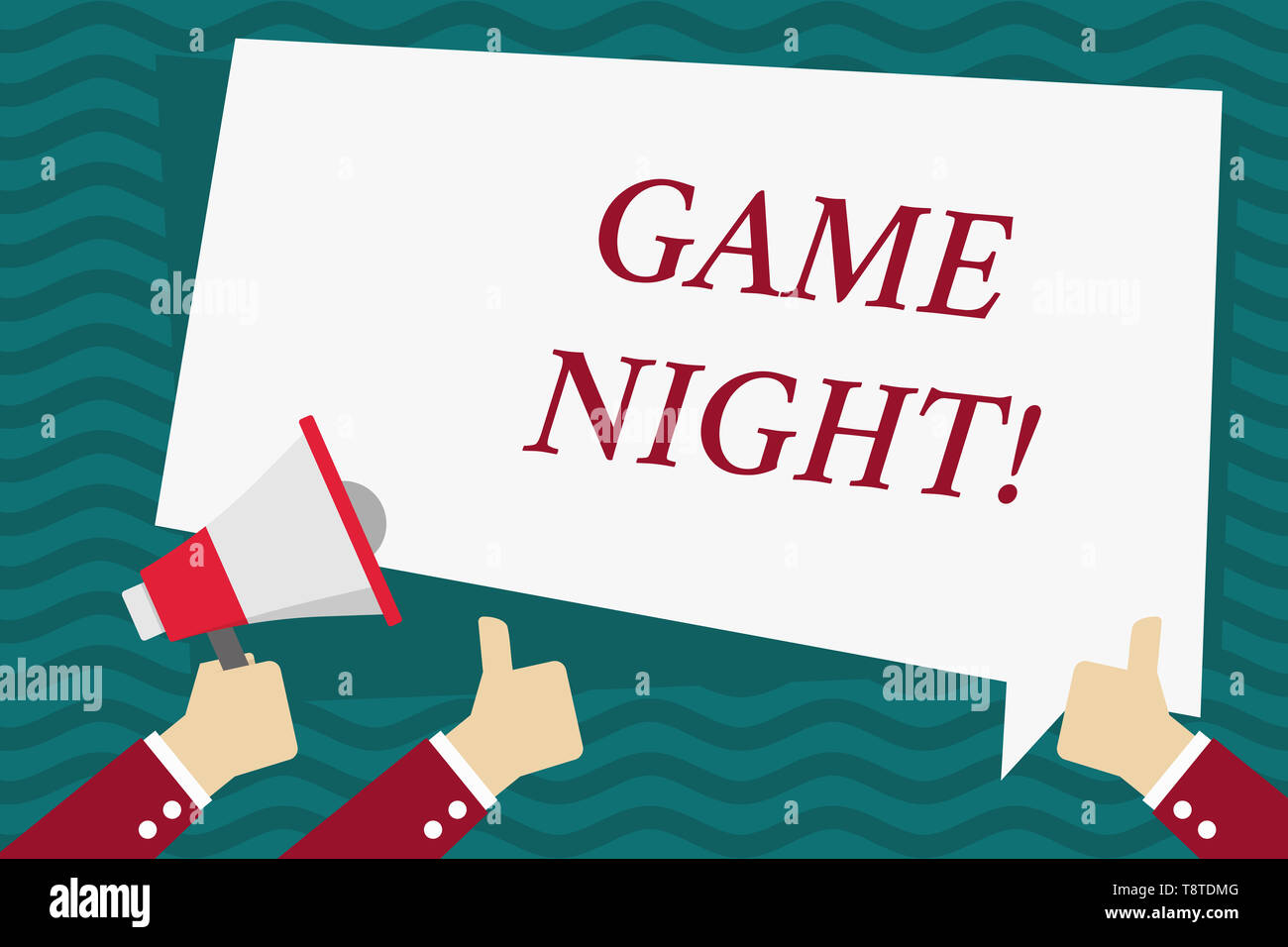 Handwriting text Game Night. Conceptual photo usually its called on adult play dates like poker with friends Hand Holding Megaphone and Other Two Gest - Stock Image