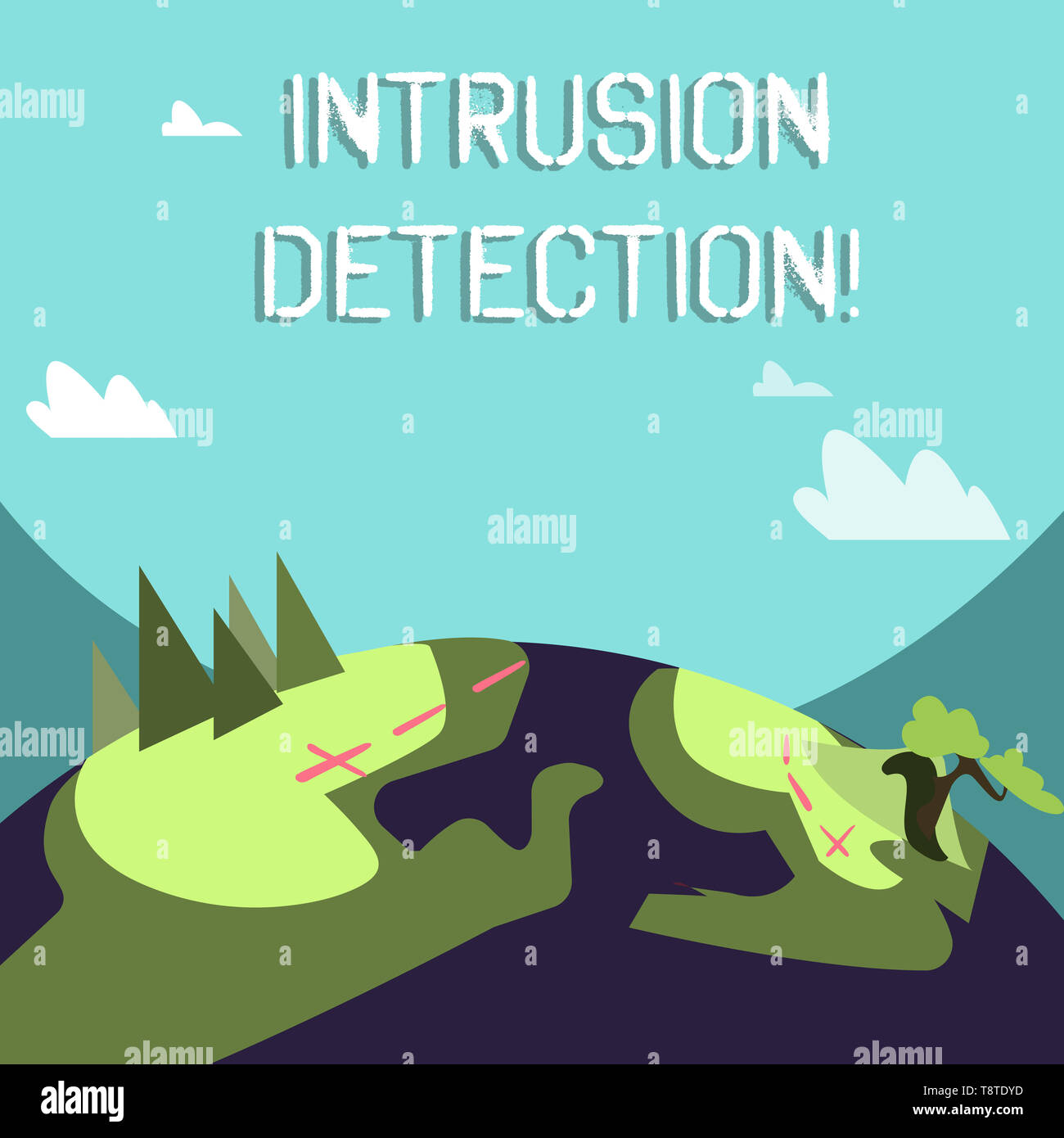 Word writing text Intrusion Detection. Business photo showcasing monitors a network or systems for malicious activity Mountain View with Marked Hiking - Stock Image