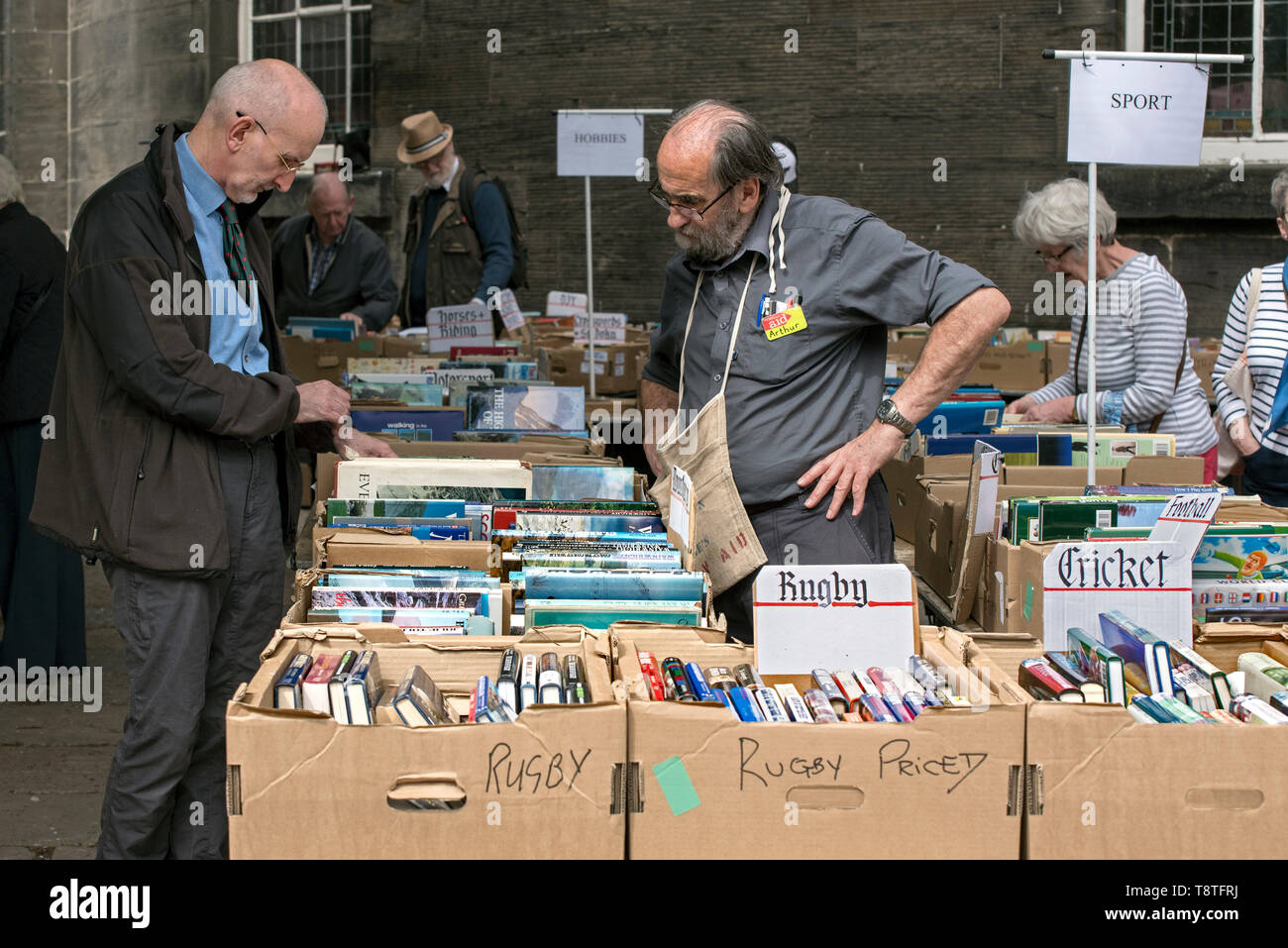 Customers at the annual Christian Aid Book Sale at St Andrew's and St George's West Church on George Street, Edinburgh, Scotland, UK. - Stock Image