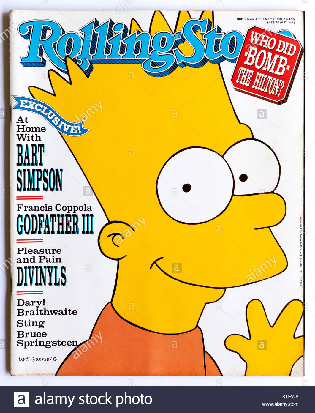 The cover of Rolling Stone magazine, issue 455, March 1991, featuring Bart Simpson - Stock Image