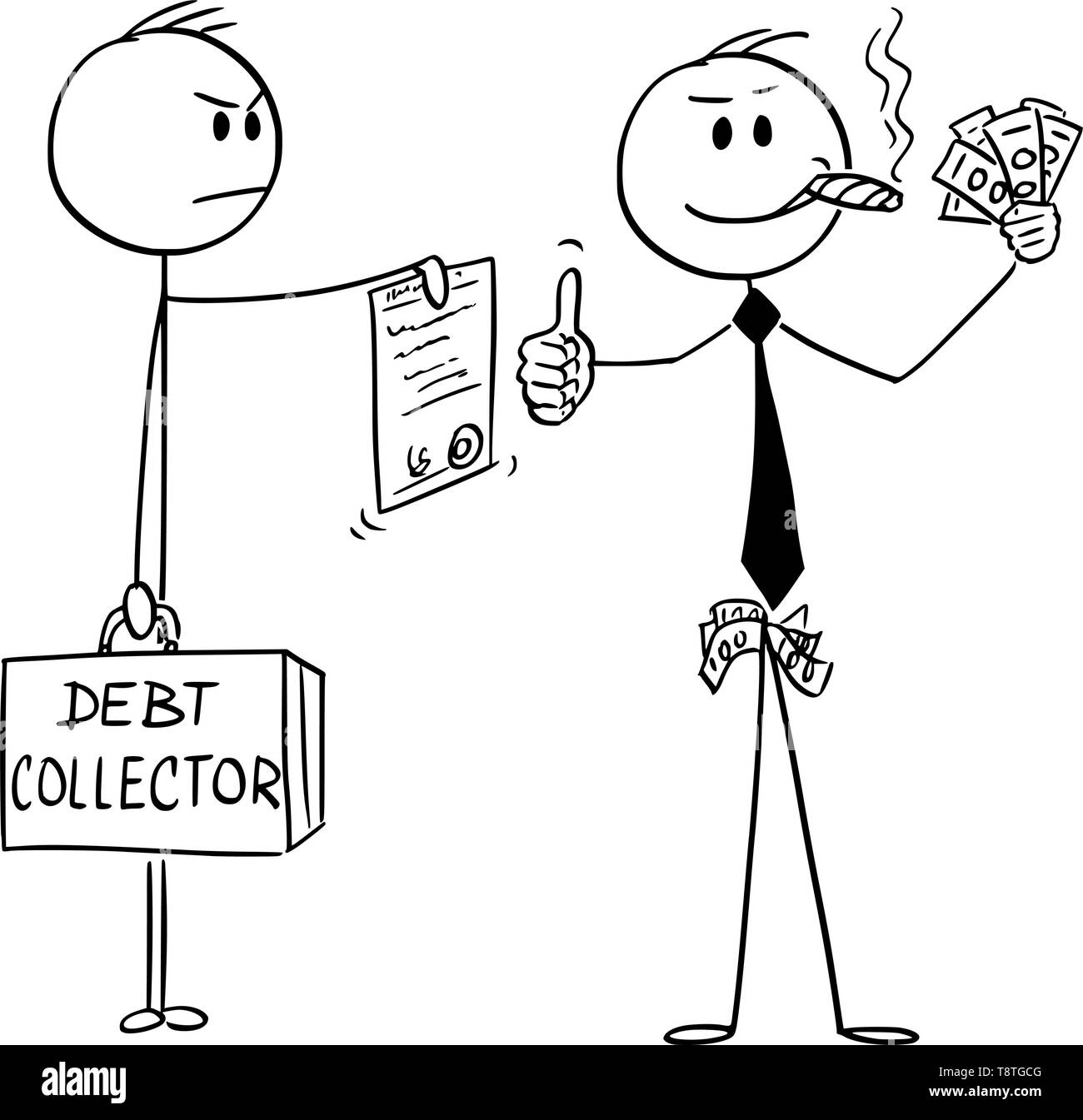 Vector cartoon stick figure drawing conceptual illustration of confident successful man or businessman smoking cigar, with money in hand showing thumbs-up while debt collector is ordering him to pay debts or foreclosing his property. - Stock Image