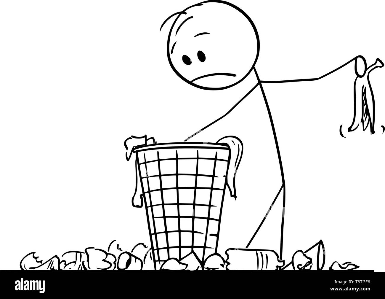 Vector cartoon stick figure drawing conceptual illustration of desperate man or businessman searching for something in trash in dustbin or scrap basket. - Stock Vector