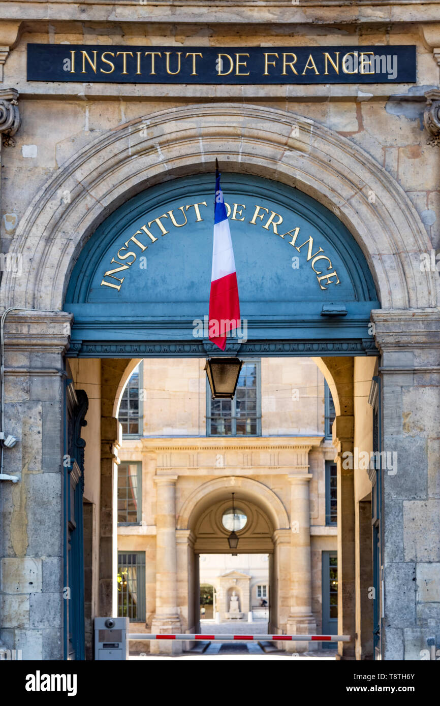 Institut de France Entrance - Paris, France - Stock Image