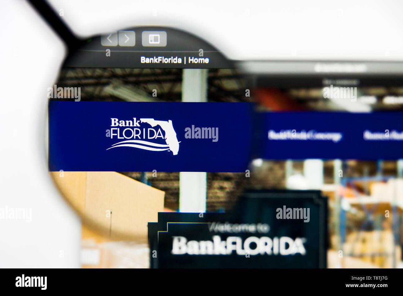 Richmond, Virginia, USA - 9 May 2019: Illustrative Editorial of BankFlorida website homepage. BankFlorida logo visible on screen. Stock Photo