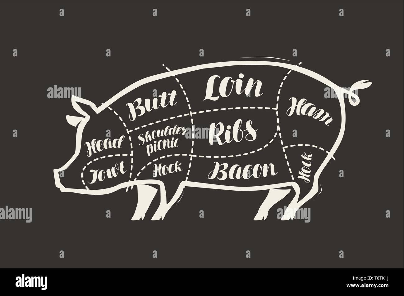 Cut of pig meat drawn on the blackboard. Menu for restaurant or butcher shop. Vector - Stock Image