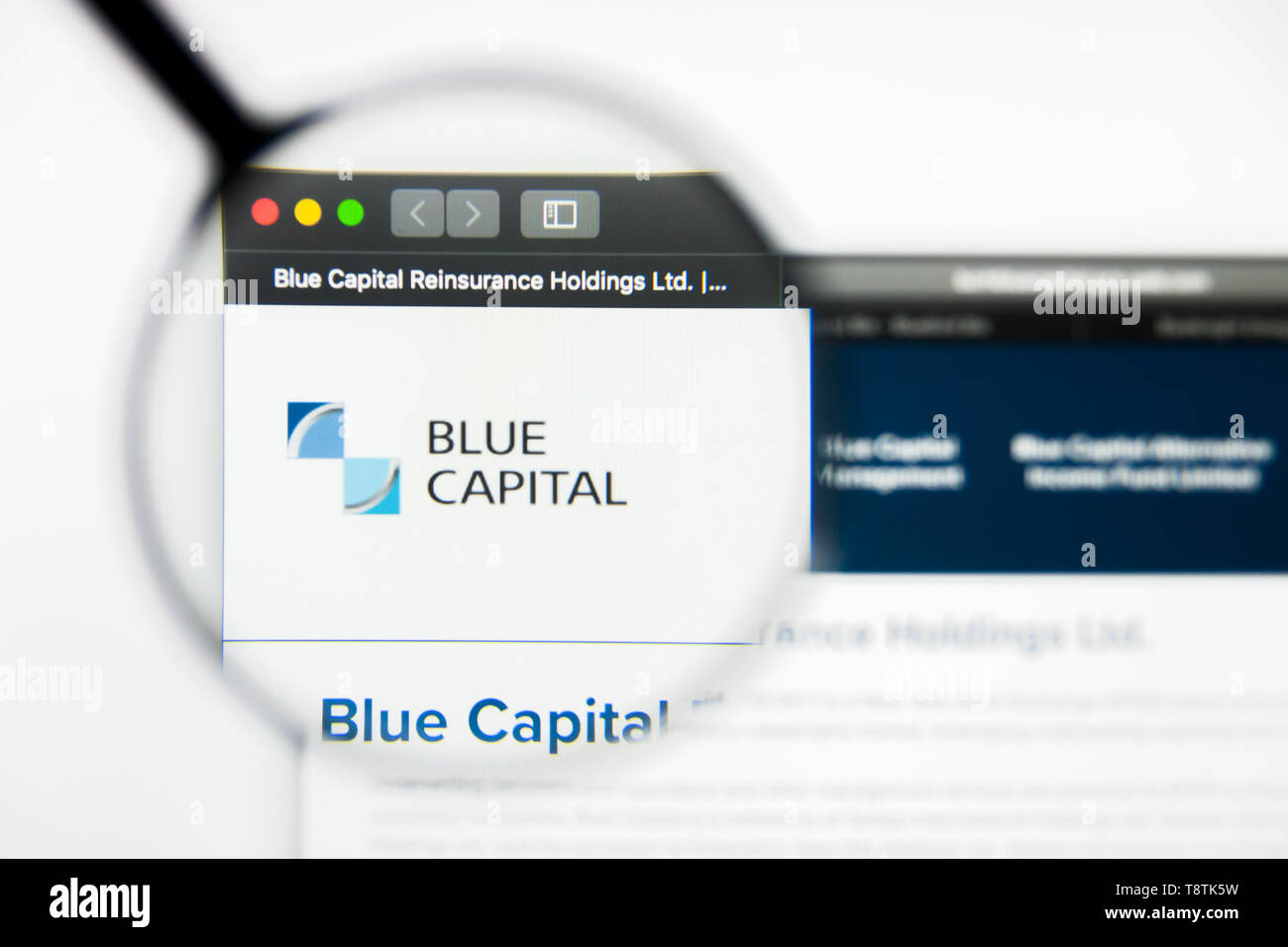 Richmond, Virginia, USA - 9 May 2019: Illustrative Editorial of Blue Capital Reinsurance Holdings LTD website homepage. Blue Capital Reinsurance Holdi - Stock Image