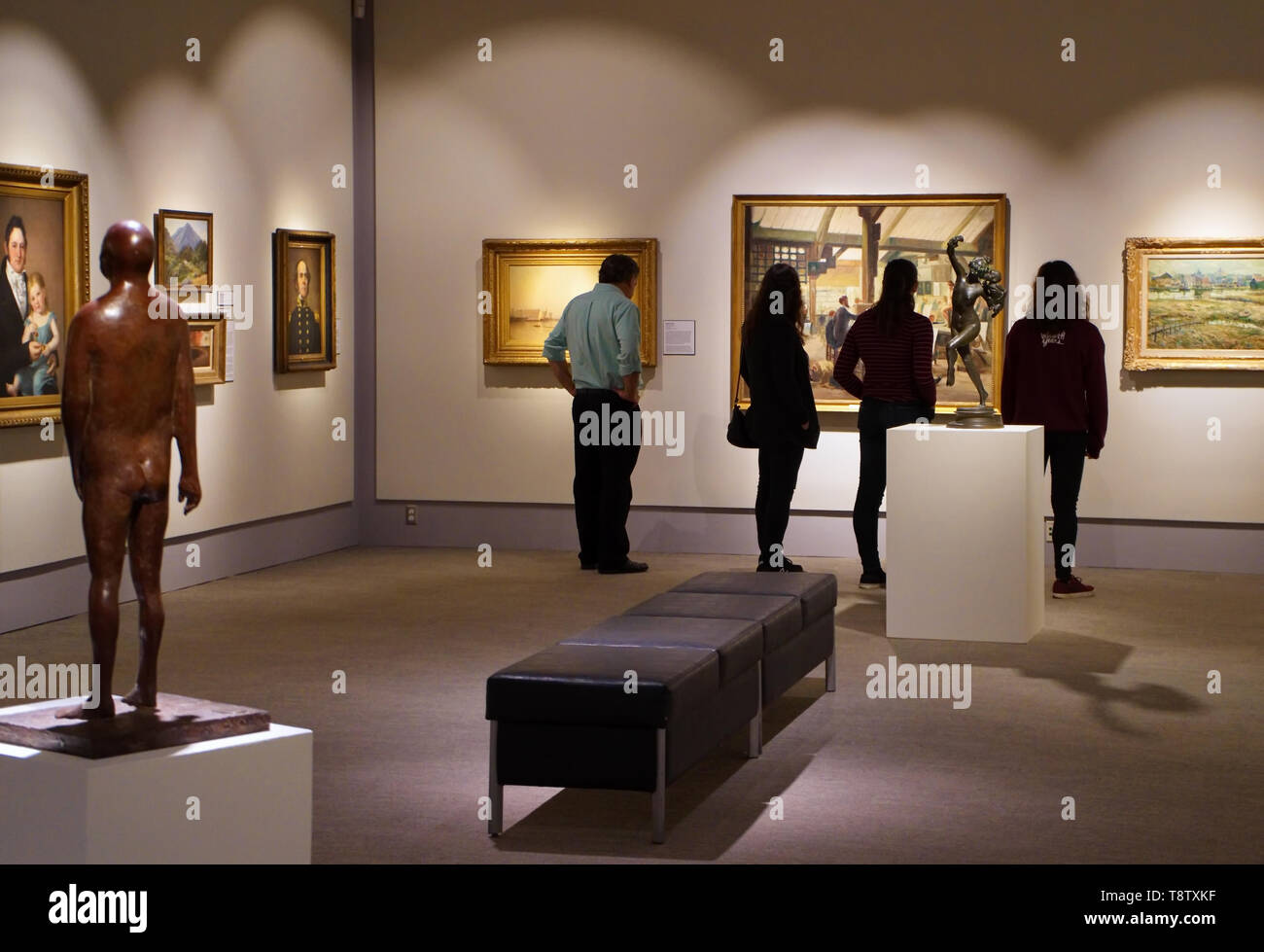 Storrs, CT USA. Oct 2018. Visitors admiring the many works of art at the William Benton Museum of Art on the campus of the University of Connecticut. - Stock Image