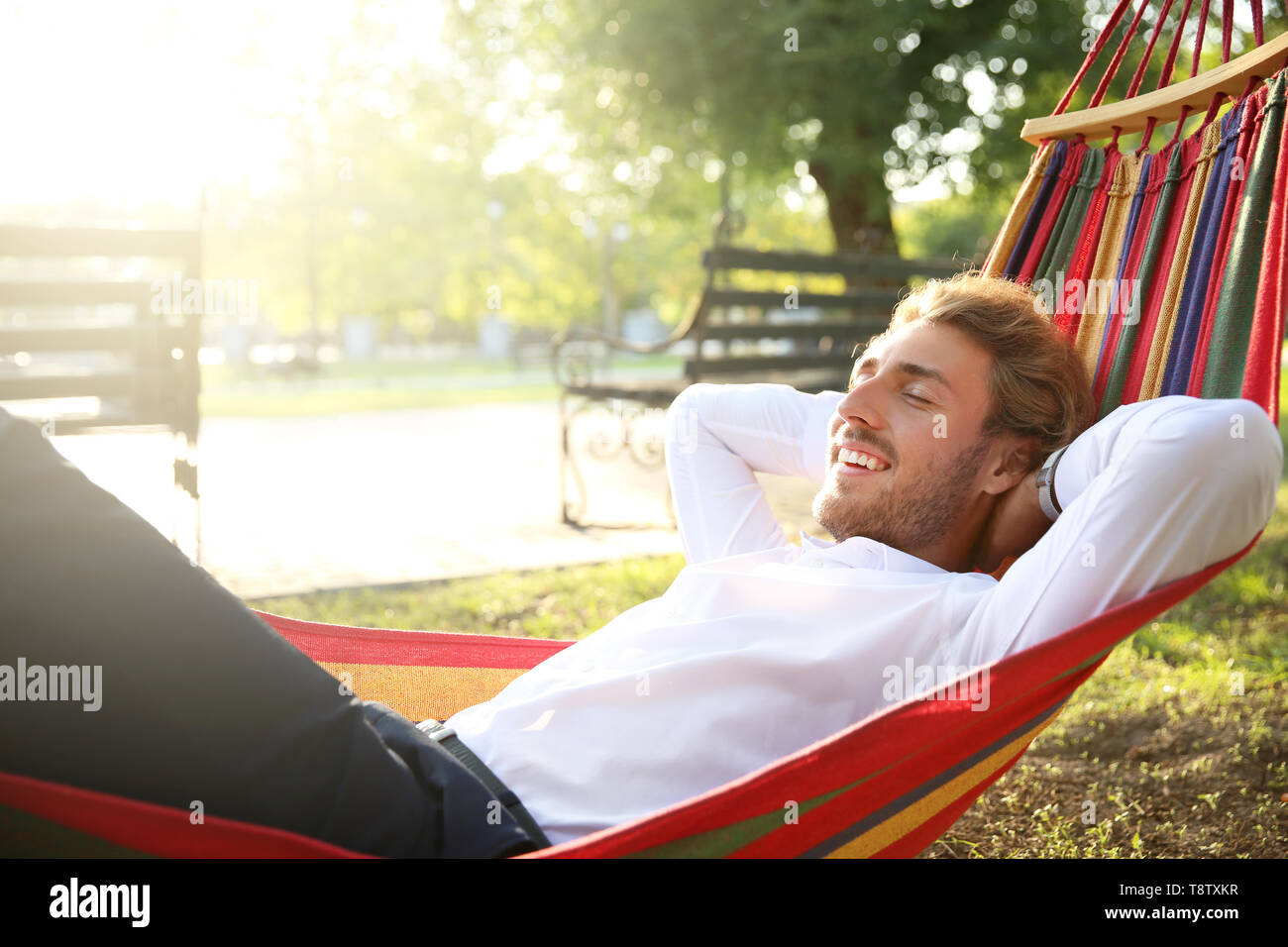 Handsome young businessman resting in hammock outdoors - Stock Image