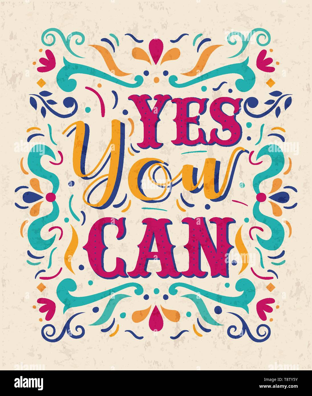 Yes You Can Typography Quote Poster For Positive Life