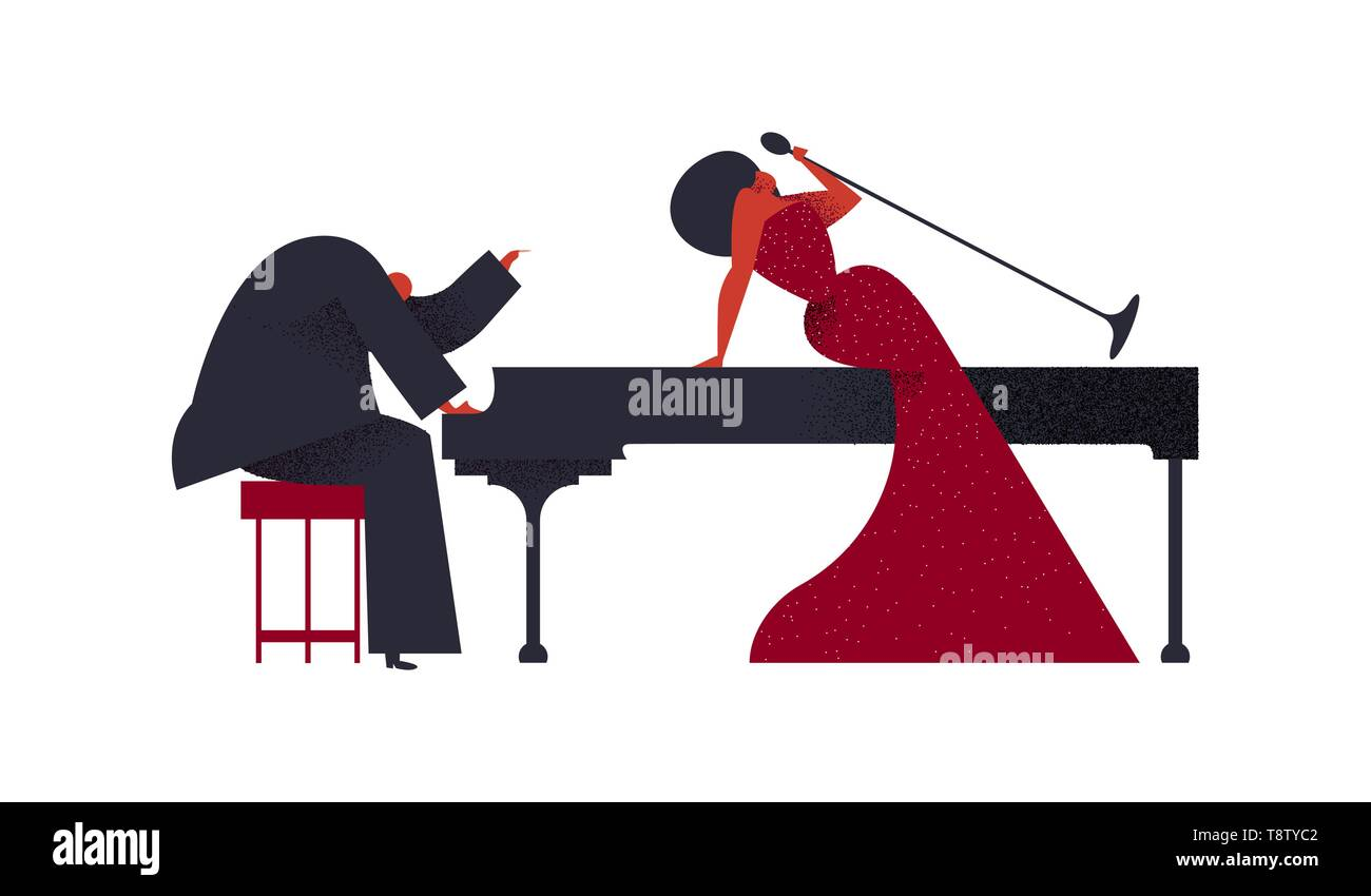 Jazz concert concept. Man playing piano with woman singer on isolated white background for music festival or event. - Stock Image