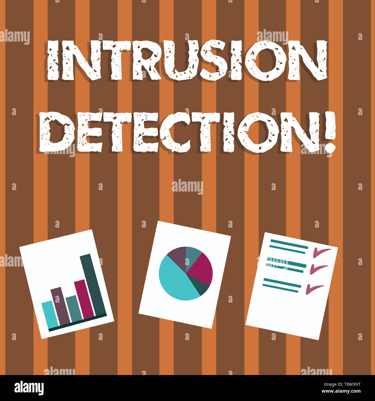 Text sign showing Intrusion Detection. Business photo text monitors a network or systems for malicious activity Presentation of Bar, Data and Pie Char - Stock Image