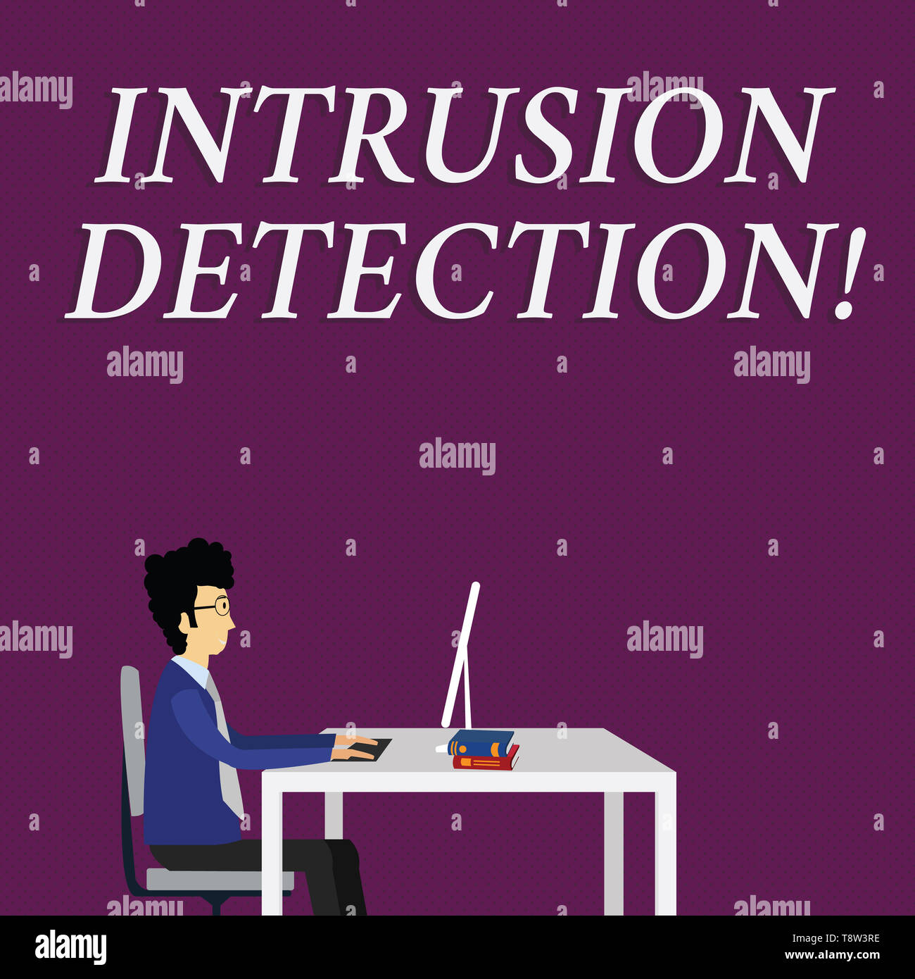 Writing note showing Intrusion Detection. Business concept for monitors a network or systems for malicious activity Businessman Sitting on Chair Worki - Stock Image