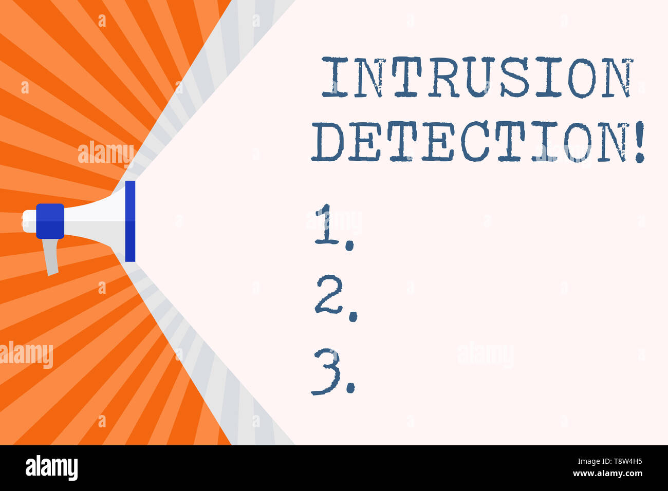 Text sign showing Intrusion Detection. Business photo text monitors a network or systems for malicious activity Megaphone Extending the Capacity of Vo - Stock Image
