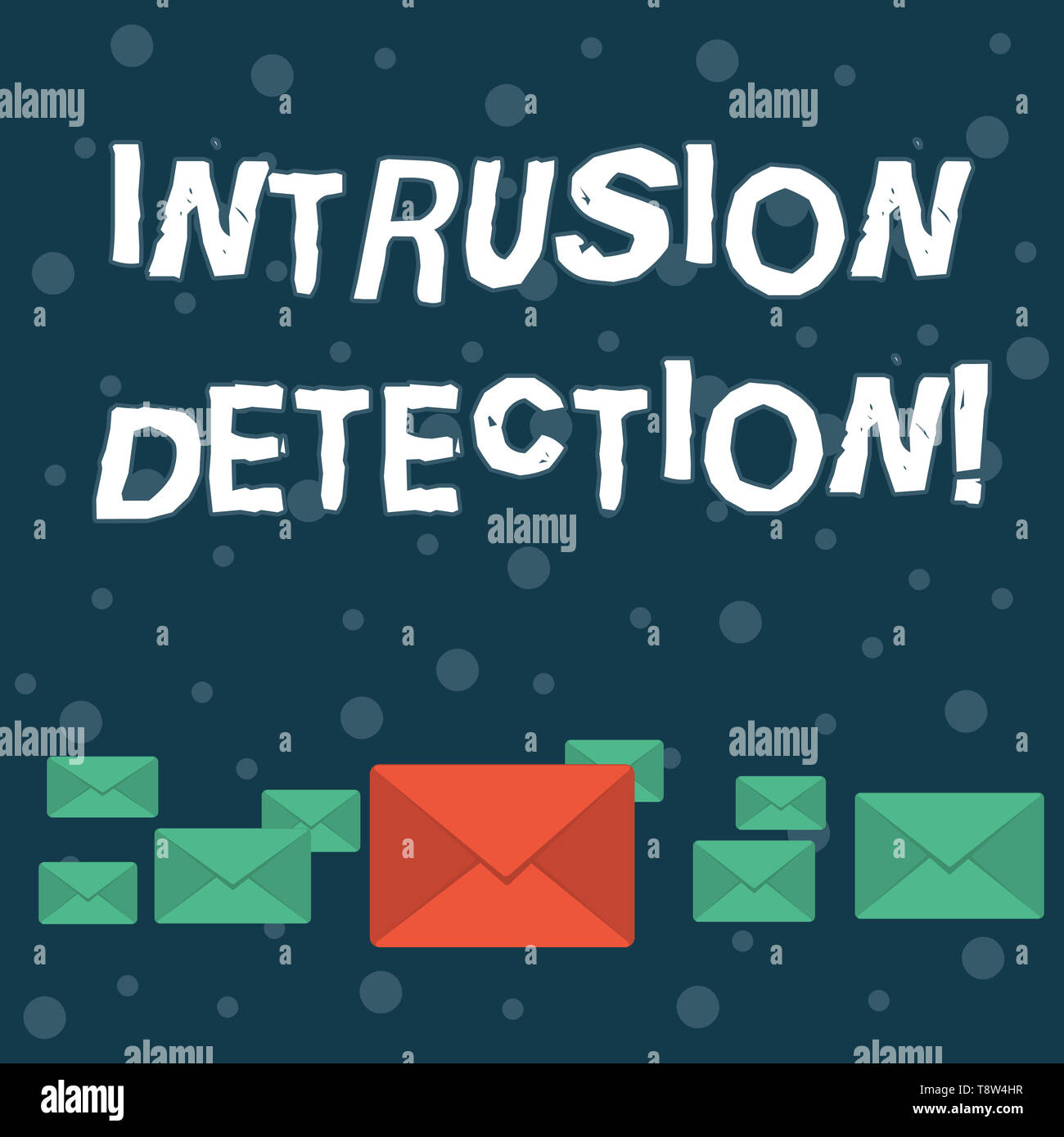 Writing note showing Intrusion Detection. Business concept for monitors a network or systems for malicious activity Color Envelopes in Different Sizes - Stock Image