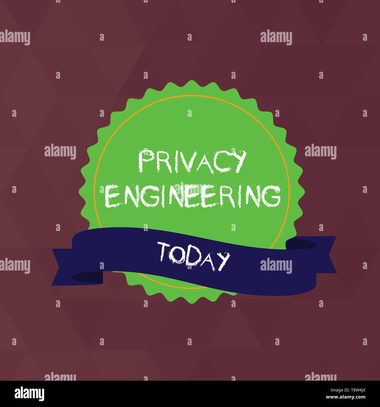 Writing note showing Privacy Engineering. Business concept for engineered systems provide acceptable levels of privacy Color Seal Sticker with Jagged  - Stock Image