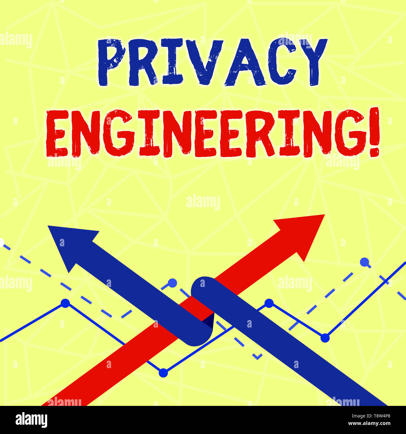 Writing note showing Privacy Engineering. Business concept for engineered systems provide acceptable levels of privacy Two Arrows One Intertwined to O - Stock Image