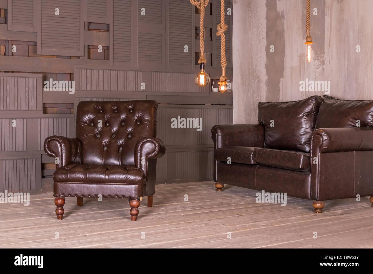 Tremendous Brown Leather Armchair And Vintage Leather Sofa Interior Creativecarmelina Interior Chair Design Creativecarmelinacom
