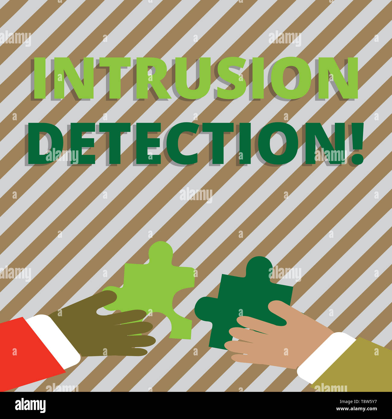 Text sign showing Intrusion Detection. Business photo showcasing monitors a network or systems for malicious activity Two Hands Holding Colorful Jigsa - Stock Image