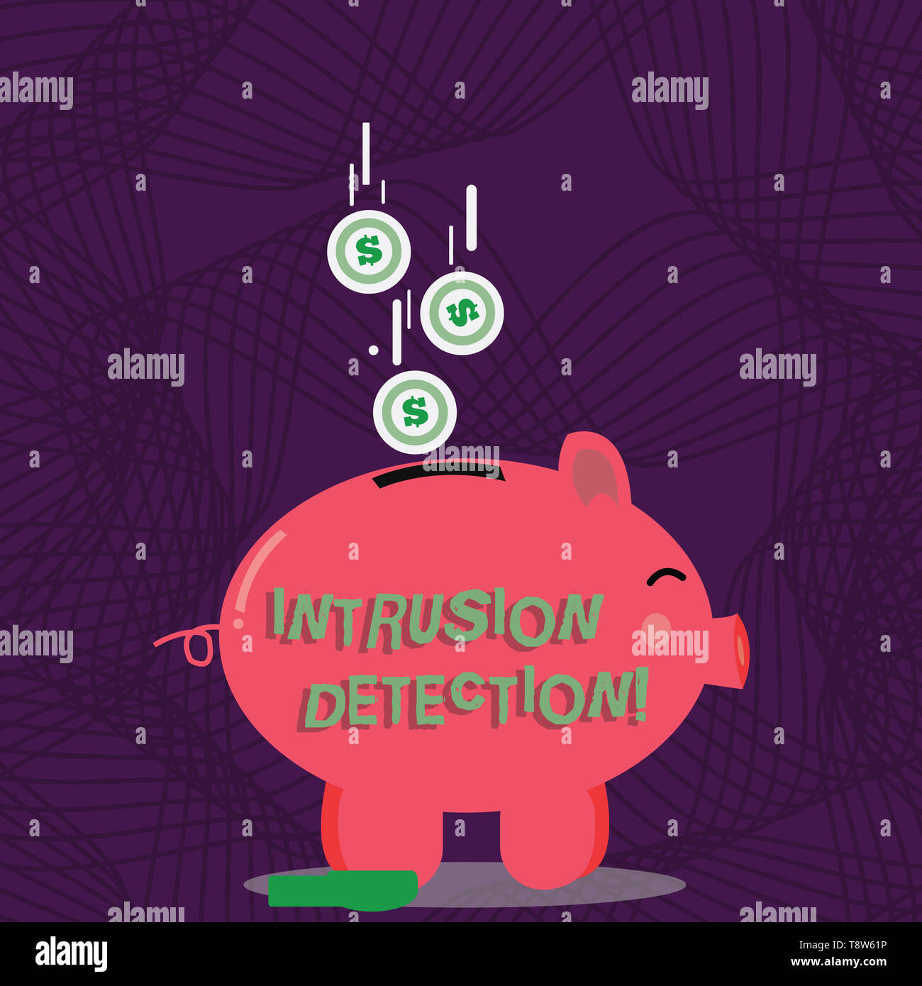 Text sign showing Intrusion Detection. Business photo showcasing monitors a network or systems for malicious activity Color Piggy Bank Sideview and Do - Stock Image
