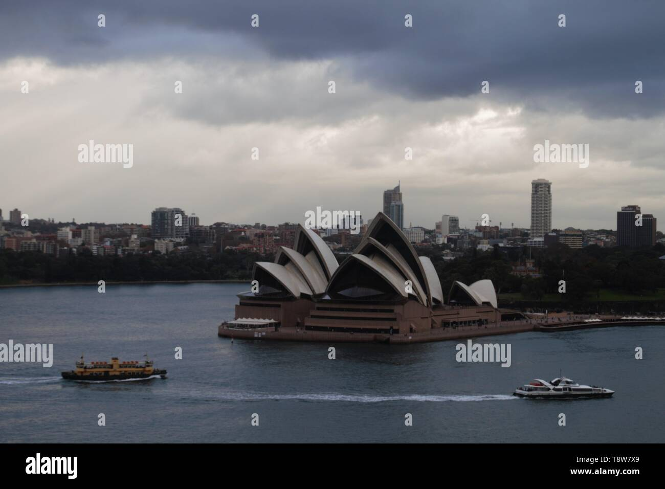 Best view of the Sydney opera house from the harbour bridge - Stock Image