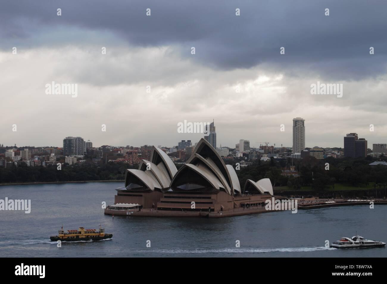 Opera house in Sydney, beautiful panorama view - Stock Image