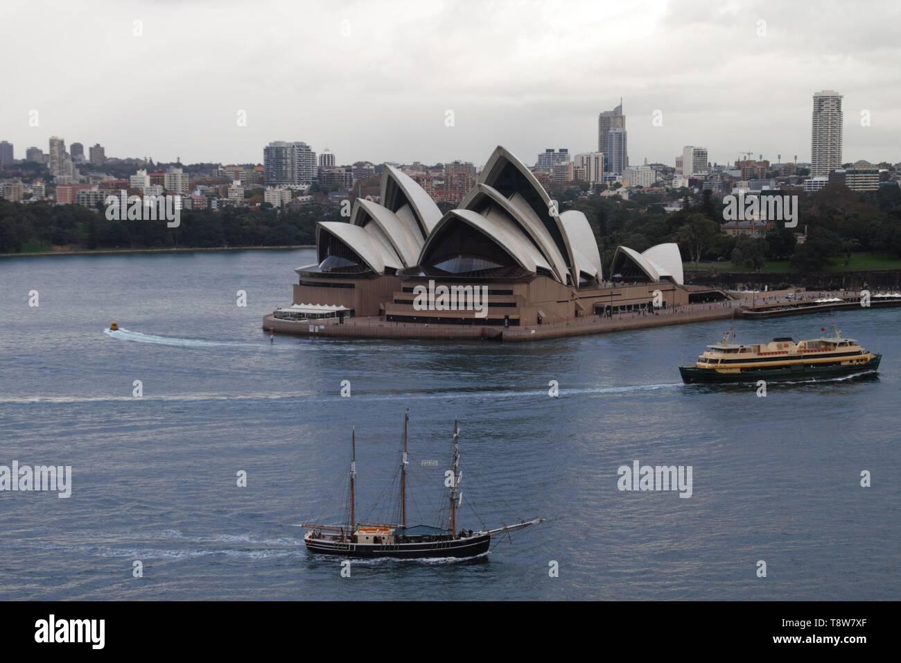 Sydney opera house taken from the harbour bridge - Stock Image