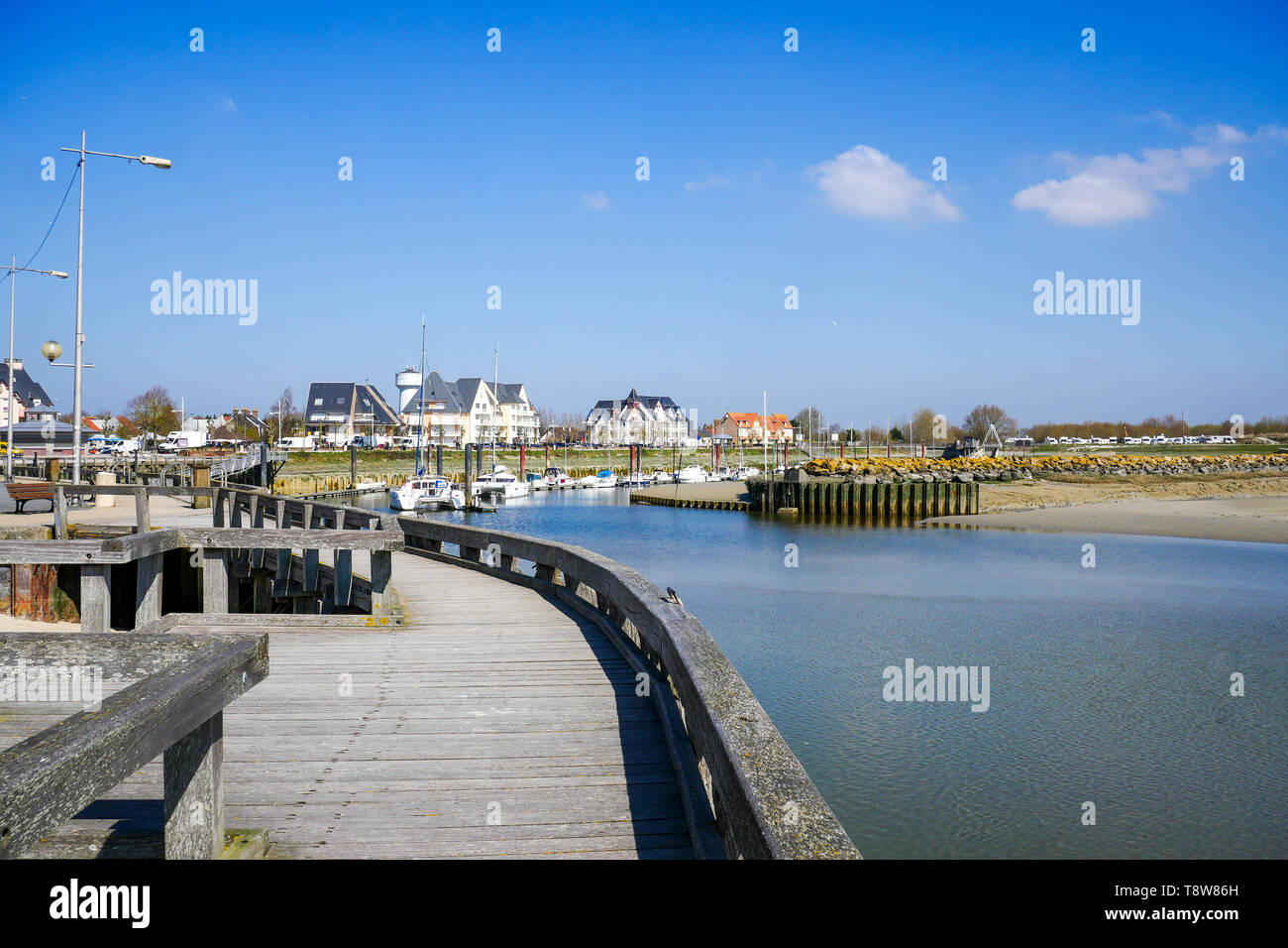 The sailing harbor at low tide, Le Crotois, Bay of Somme,  Hauts-de-France, France - Stock Image
