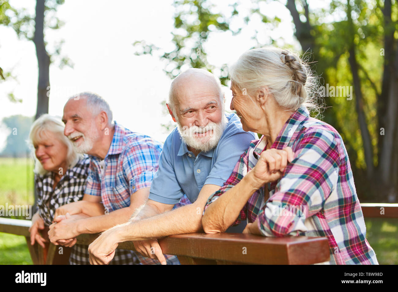 Active seniors talking as friends on a summer outing - Stock Image