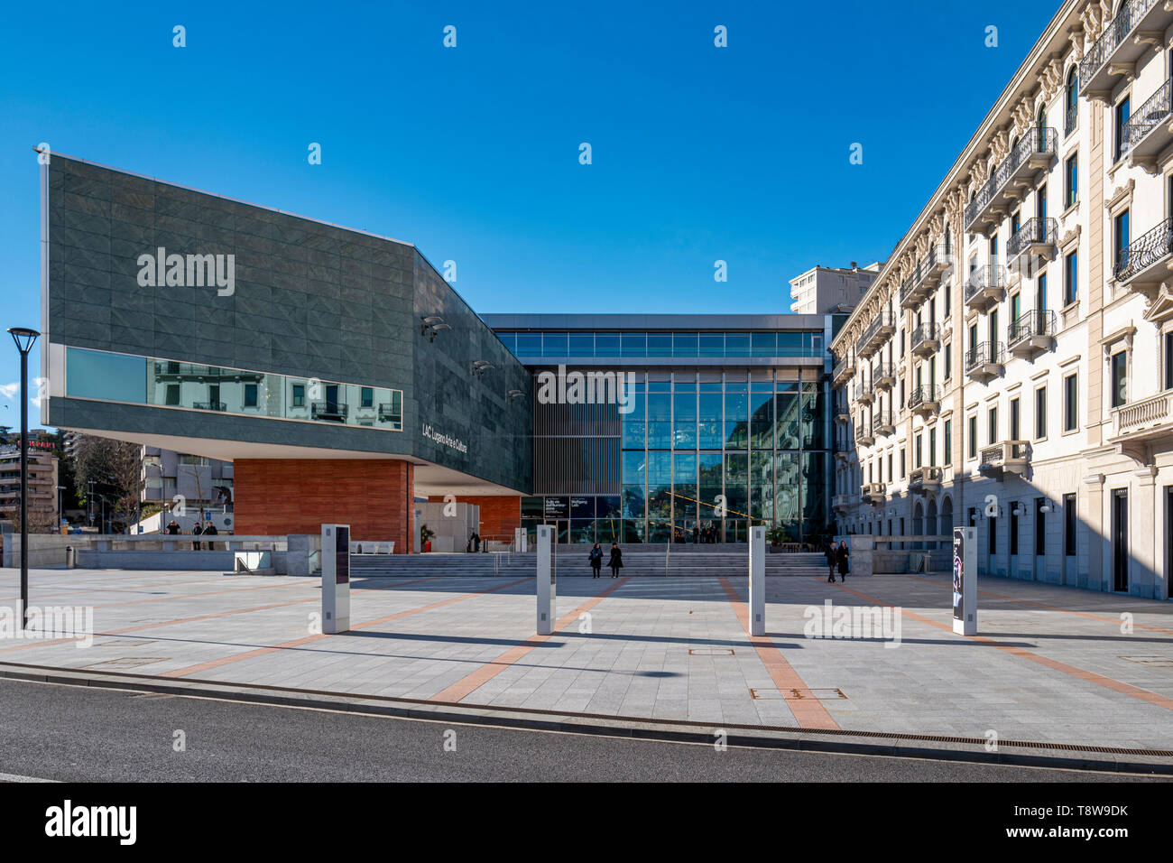 Lugano Arte e Cultura (LAC) is a cultural centre dedicated to music, visual and performance arts opened in 2015 in Lugano, Switzerland. The LAC centre Stock Photo