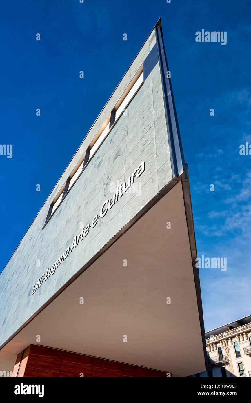 Lugano Arte e Cultura (LAC) is a cultural centre dedicated to music, visual and performance arts opened in 2015 in Lugano, Switzerland. The LAC centre Stock Photo