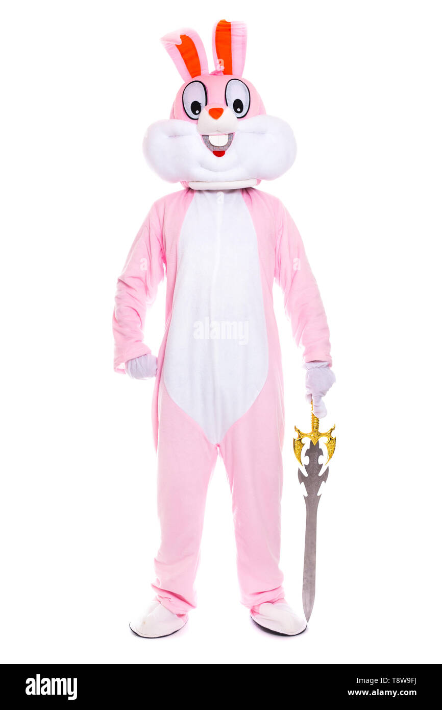 Life size easter bunny knight or warrior with sword or dagger stands on white background - Stock Image