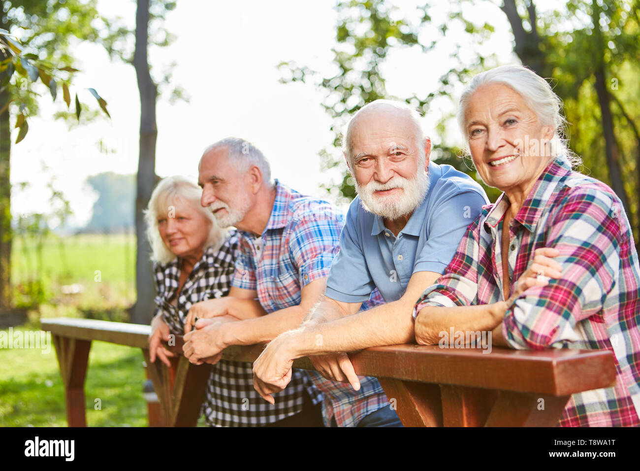 Group seniors as pensioners in the summer on a weekend trip - Stock Image