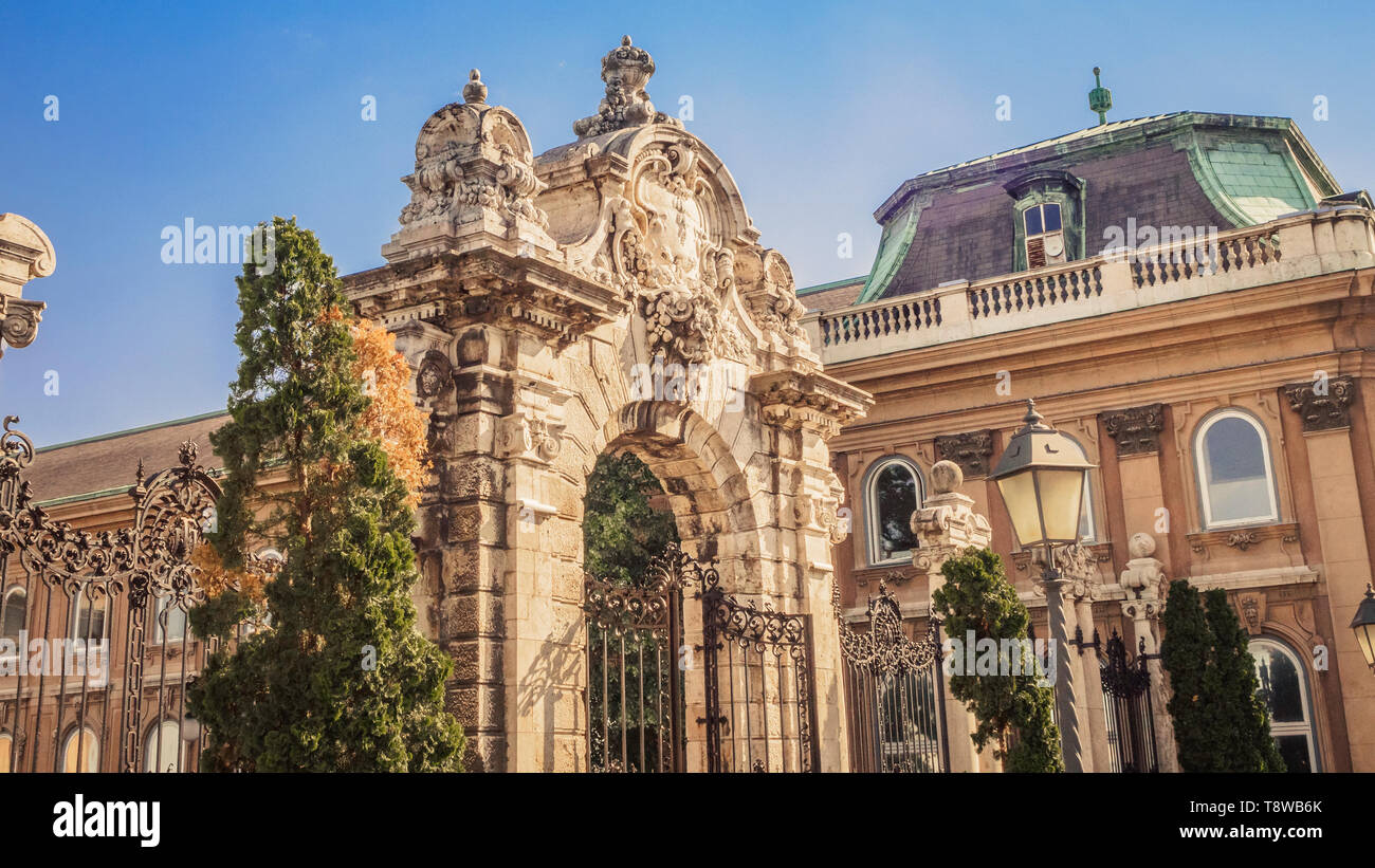 Habsburg Gate to Buda Castle in Budapest, Hungary Stock Photo
