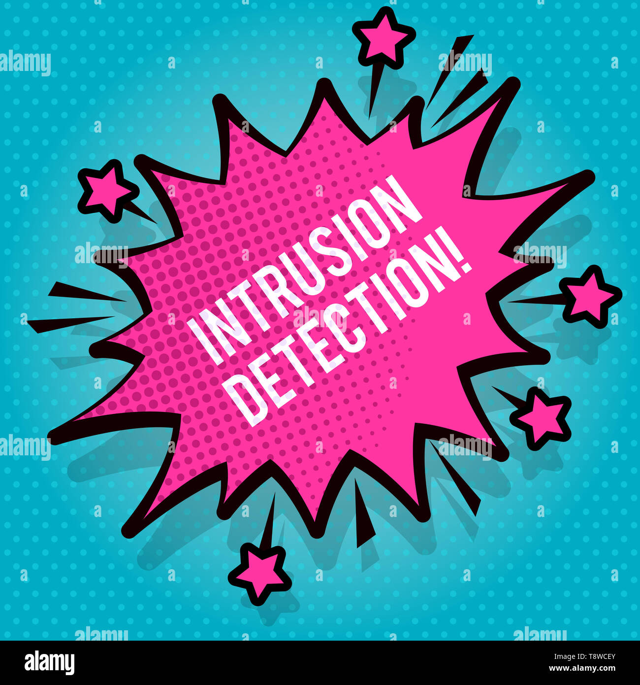Text sign showing Intrusion Detection. Business photo text monitors a network or systems for malicious activity Spiky Blank Fight and Screaming Angry  - Stock Image
