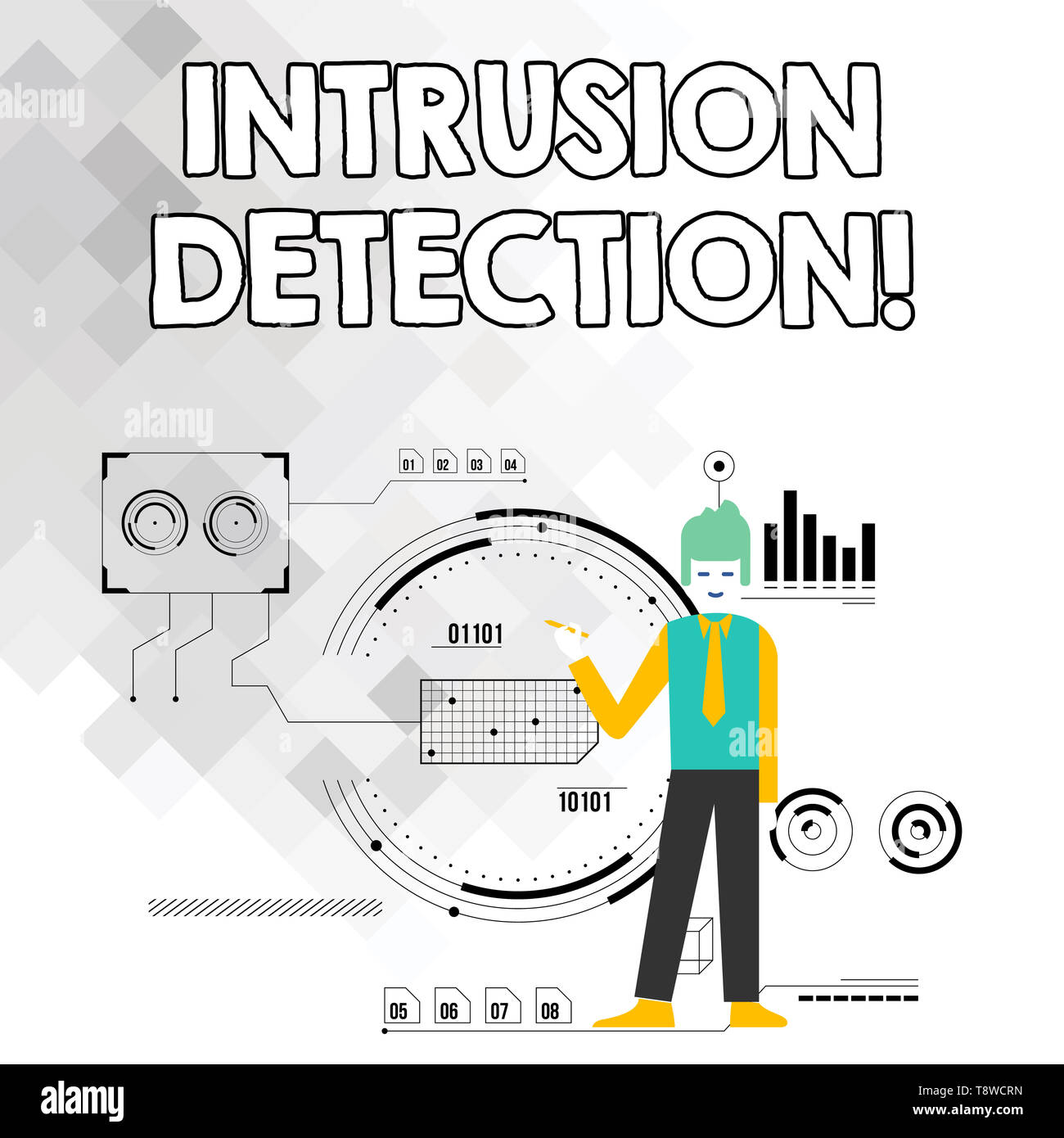 Word writing text Intrusion Detection. Business photo showcasing monitors a network or systems for malicious activity Man Standing Holding Pen Pointin - Stock Image