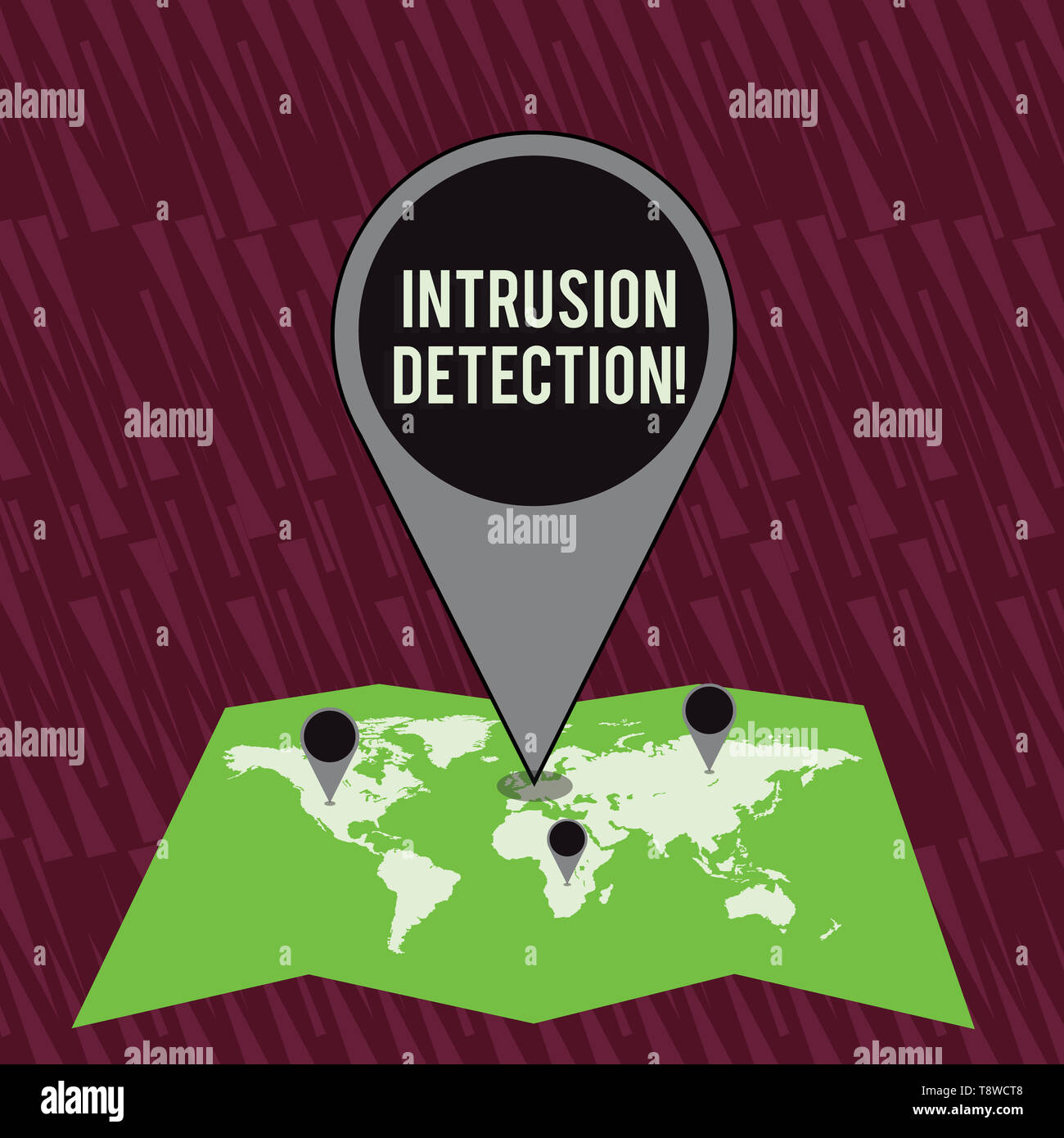 Text sign showing Intrusion Detection. Business photo text monitors a network or systems for malicious activity Colorful Huge Location Marker Pin Poin - Stock Image