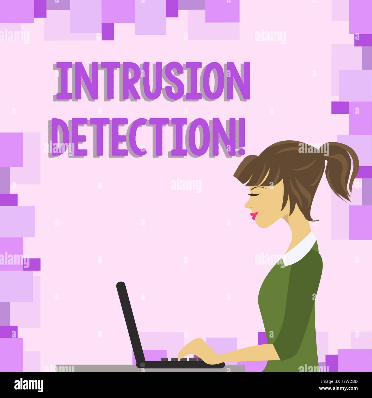 Word writing text Intrusion Detection. Business photo showcasing monitors a network or systems for malicious activity photo of Young Busy Woman Sittin - Stock Image