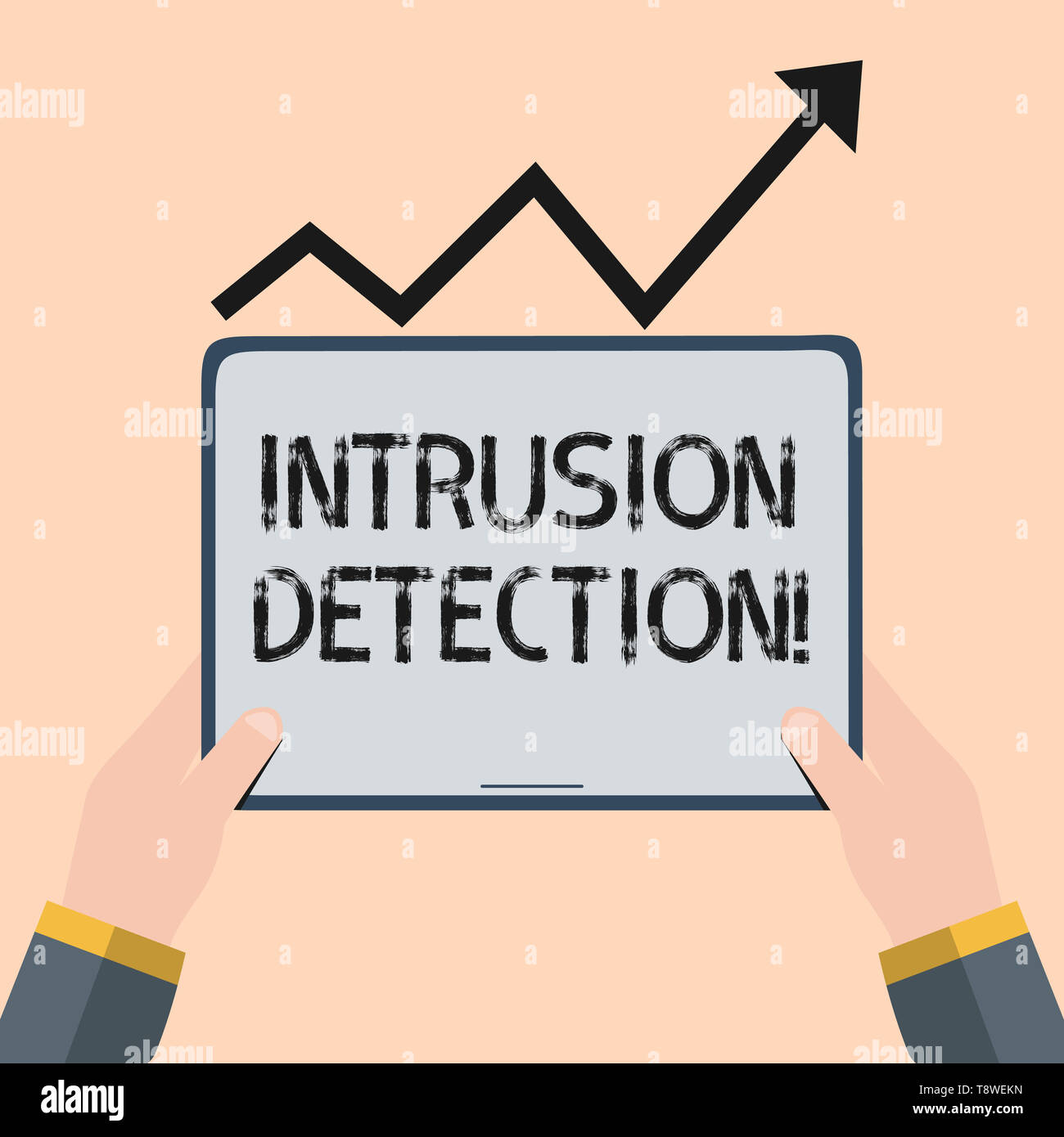 Handwriting text writing Intrusion Detection. Conceptual photo monitors a network or systems for malicious activity Hand Holding Blank Screen Tablet u - Stock Image