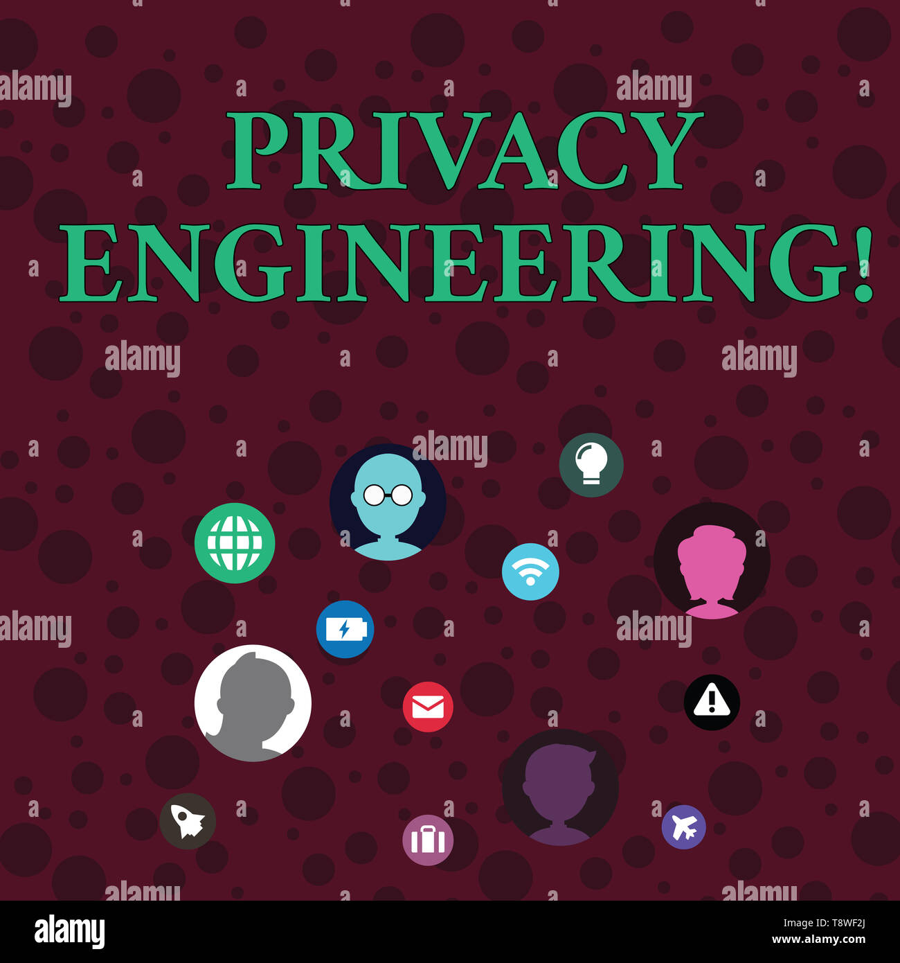 Conceptual hand writing showing Privacy Engineering. Concept meaning engineered systems provide acceptable levels of privacy Networking Technical Icon - Stock Image