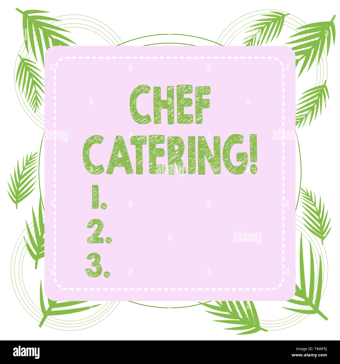 Text sign showing Chef Catering. Business photo text Provides services, food and beverages for various events - Stock Image