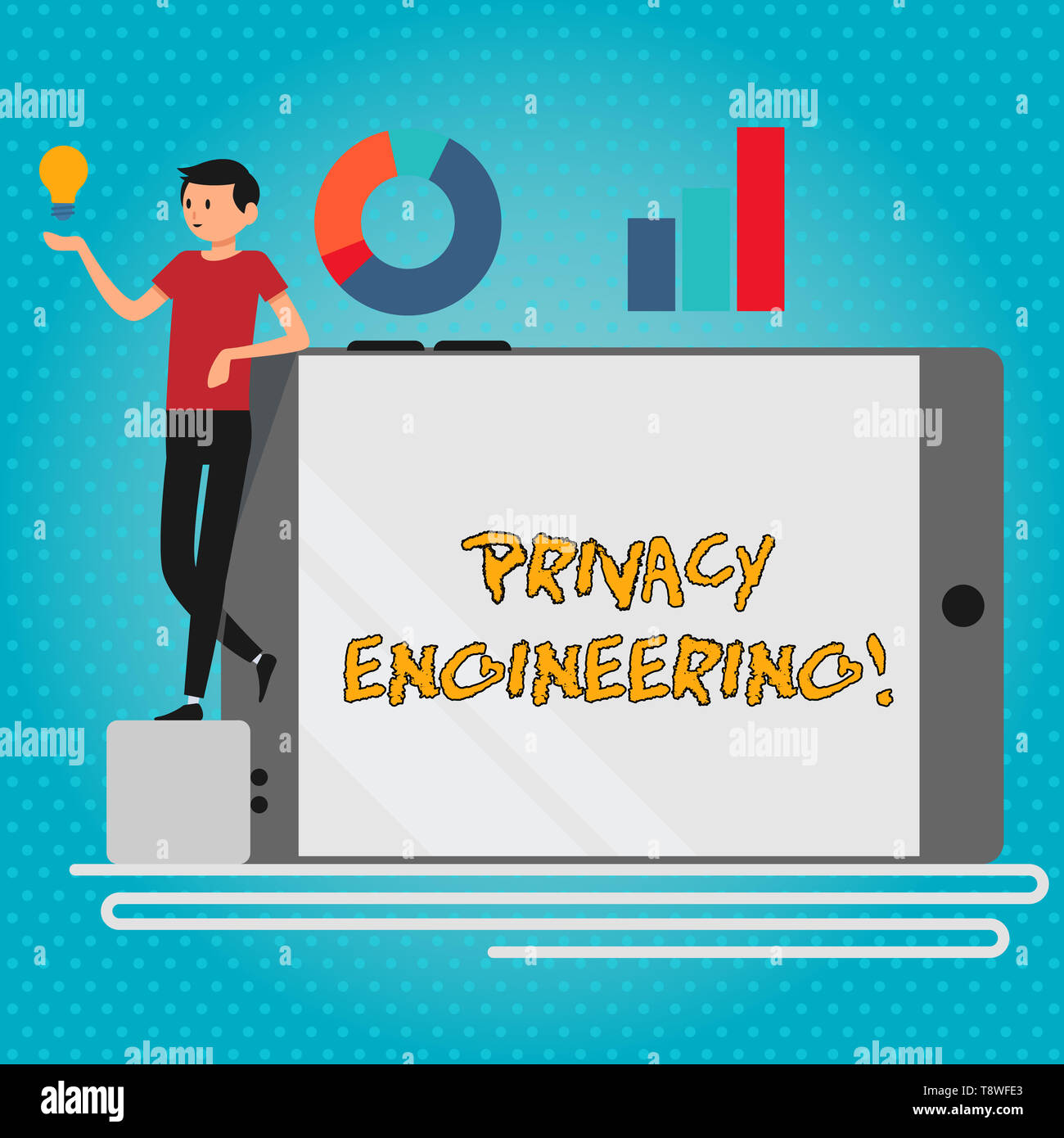 Text sign showing Privacy Engineering. Business photo showcasing engineered systems provide acceptable levels of privacy Man Leaning on Blank Smartpho - Stock Image