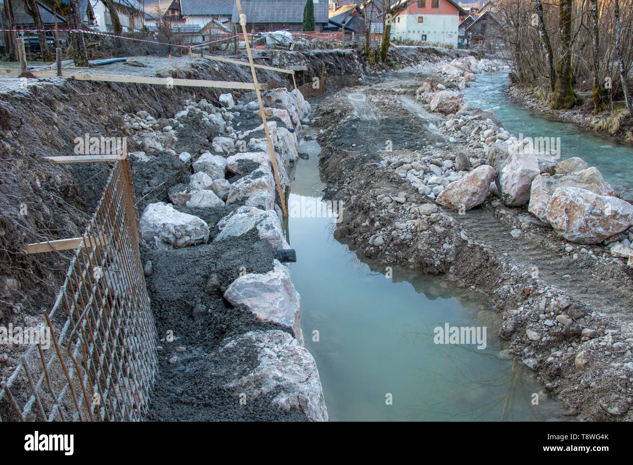 civil engineering on river bank - Stock Image