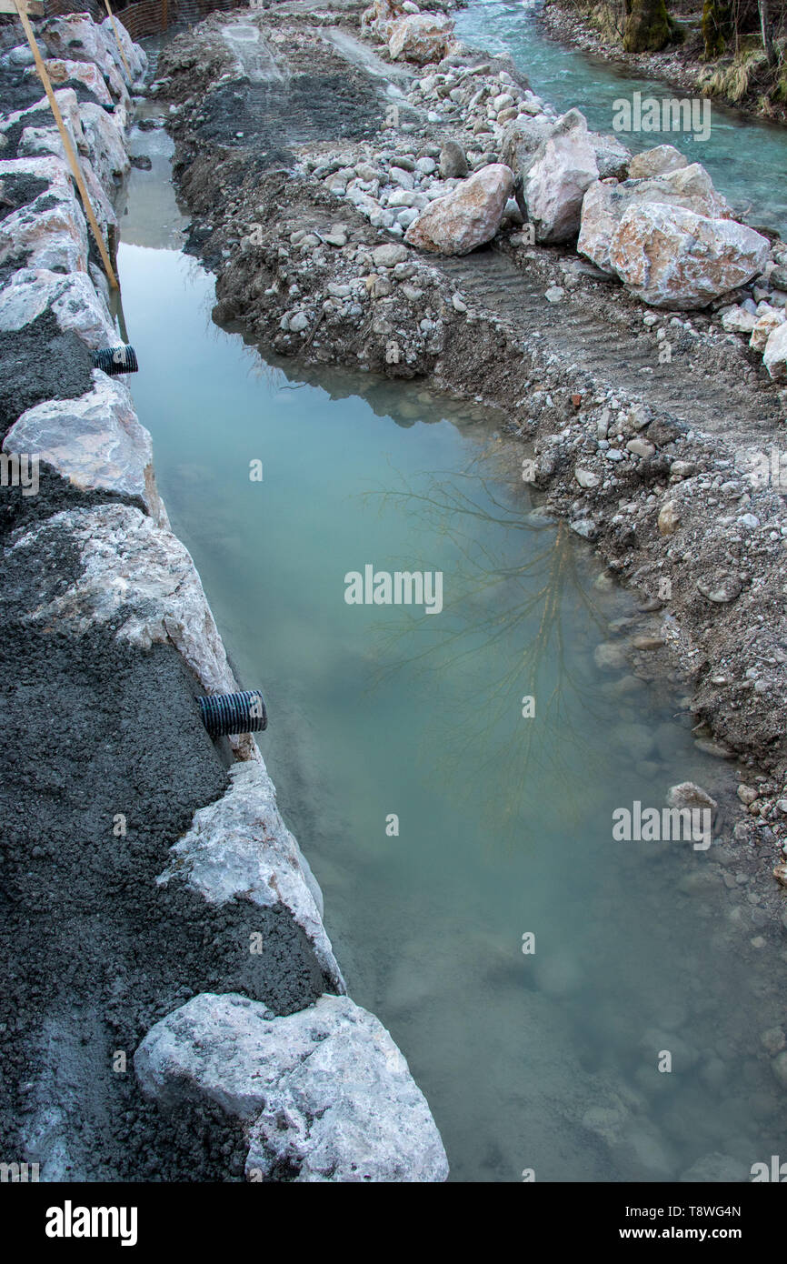civil engineering in river - Stock Image
