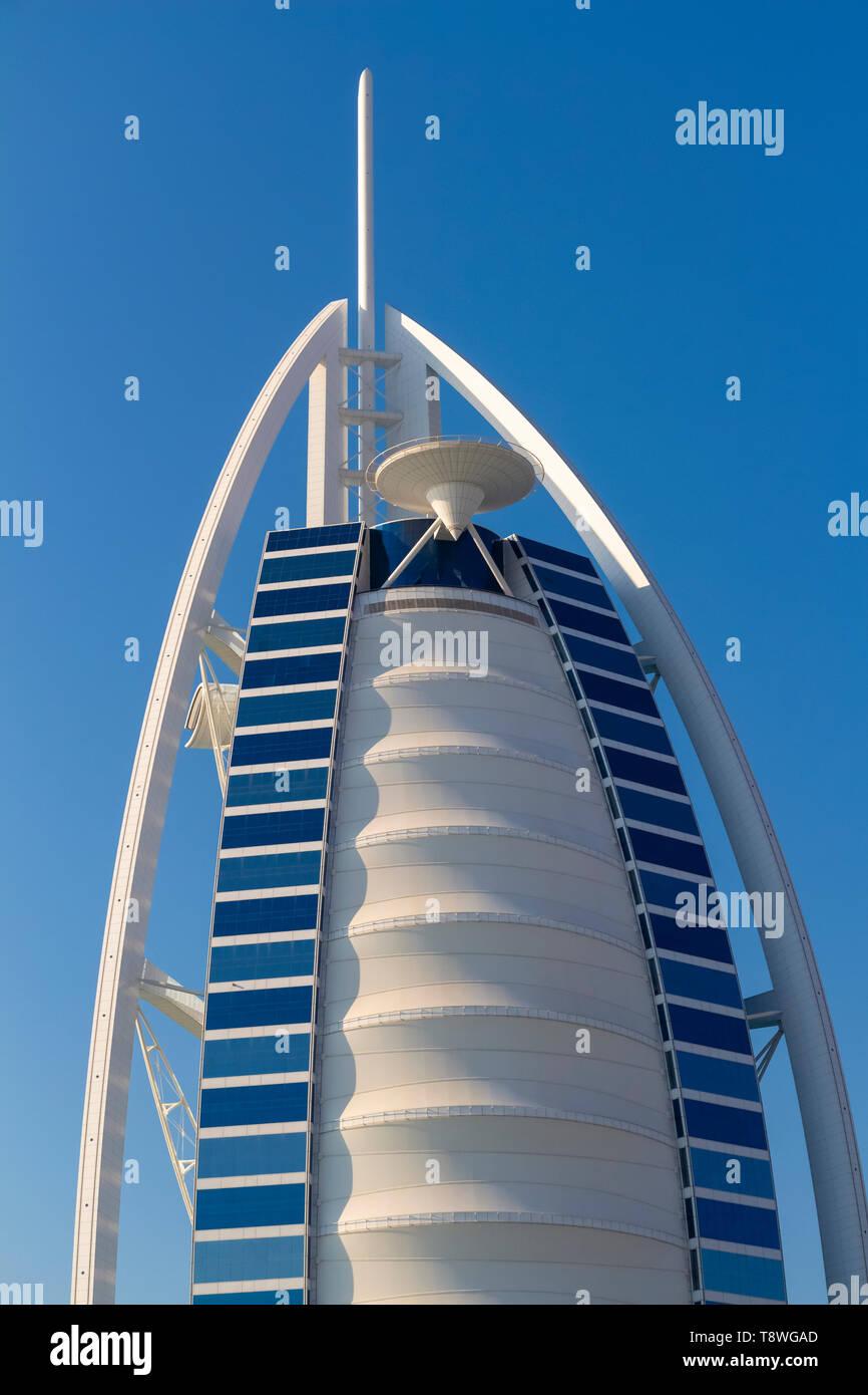Dubai, UAE - November 29, 2018: View on Burj Al Arab, the world only seven stars hotel. - Stock Image