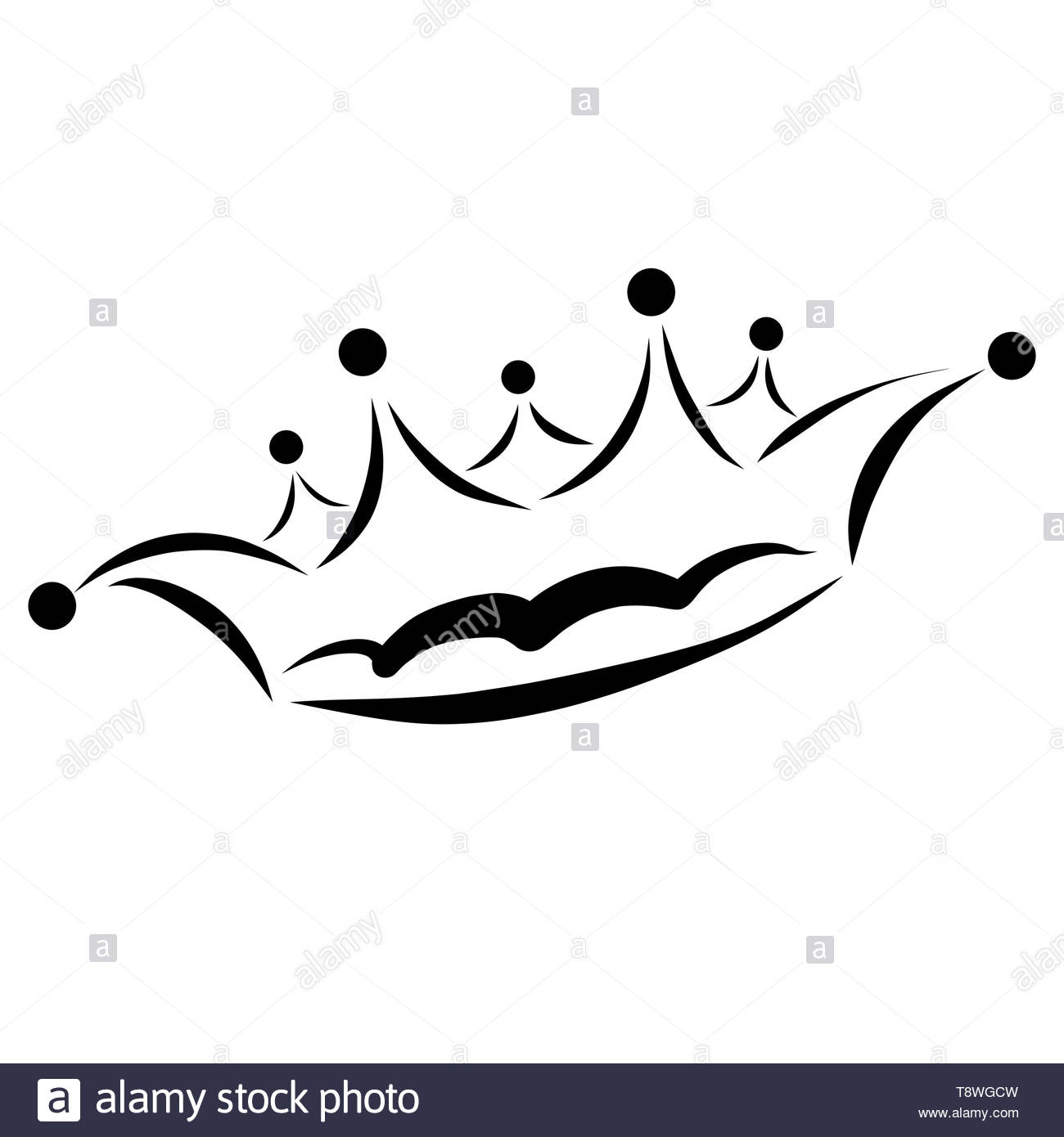 female crown, black sketch on white background - Stock Image