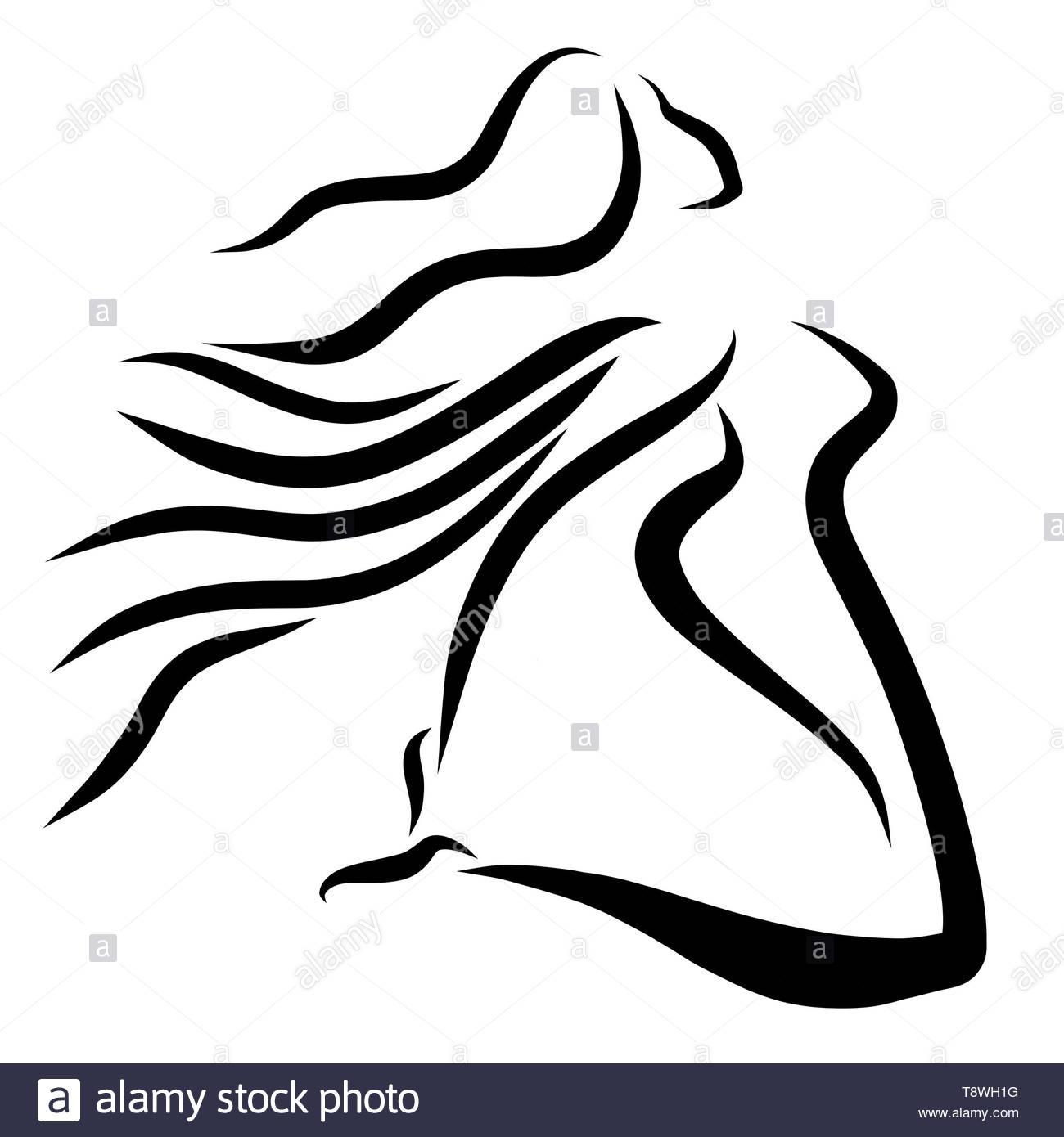 winged woman's jump, feelings and sport, pattern - Stock Image