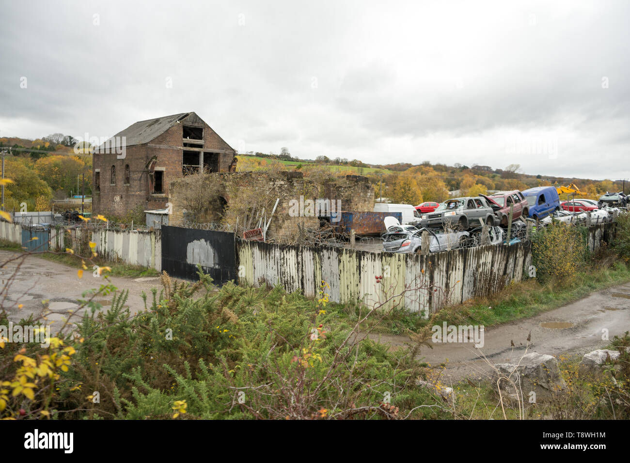 Scrap yard on the site of ex-mining place, North Wales, UK - Stock Image