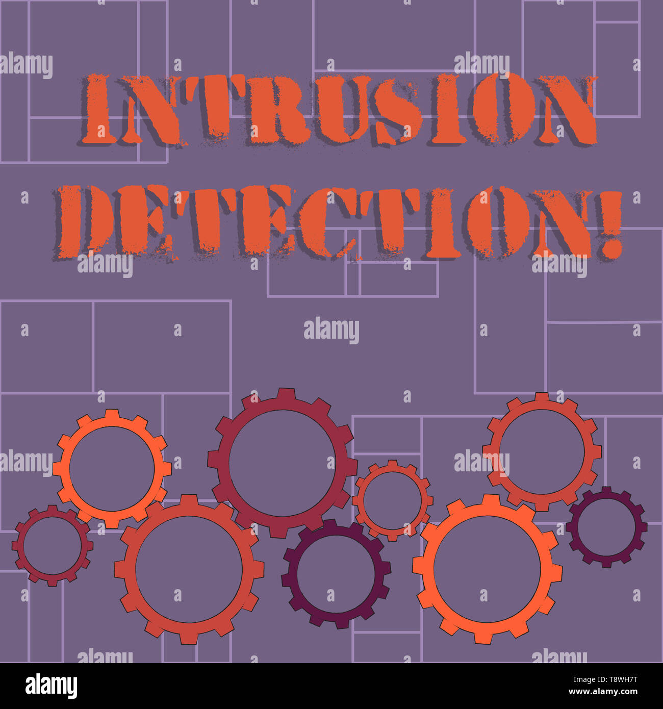 Text sign showing Intrusion Detection. Business photo showcasing monitors a network or systems for malicious activity Colorful Cog Wheel Gear Engaging - Stock Image