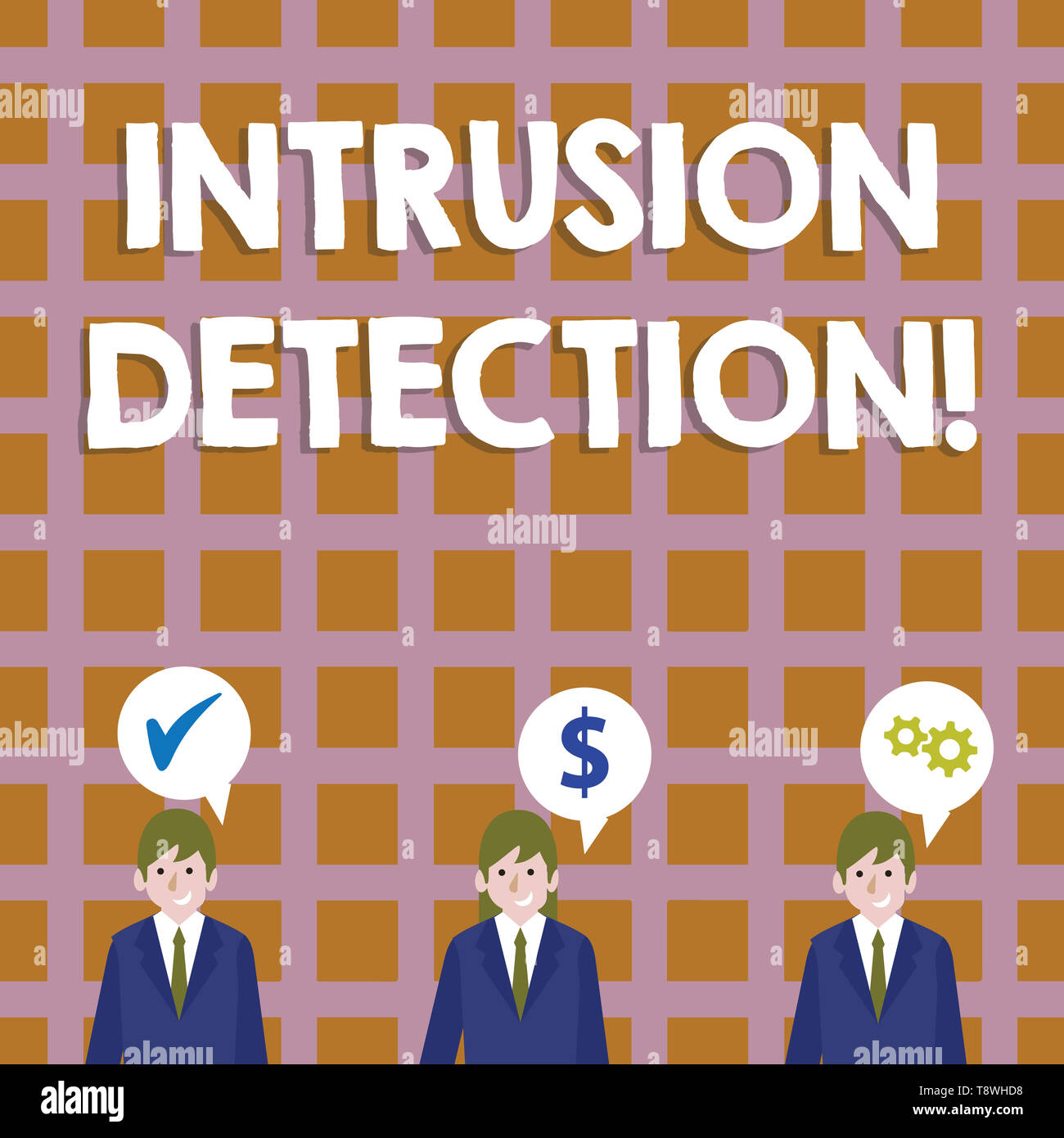 Conceptual hand writing showing Intrusion Detection. Concept meaning monitors a network or systems for malicious activity Businessmen has Speech Bubbl - Stock Image